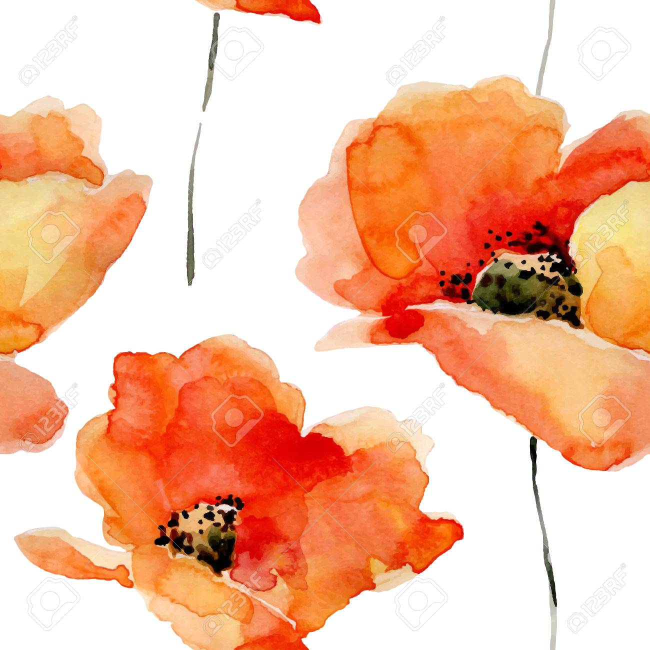 Watercolor flowers seamless pattern with poppies. Bright colors watercolor background. - 51894797
