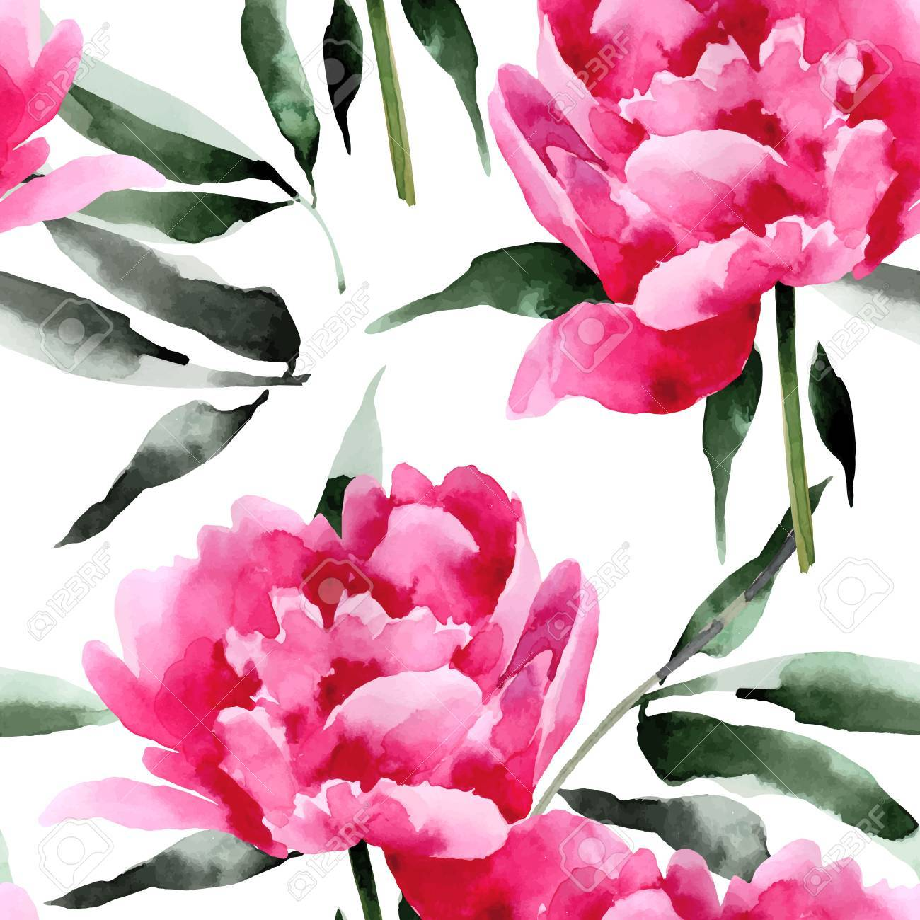 Seamless floral pattern with peonies. Background for web pages, wedding invitations. - 52613774