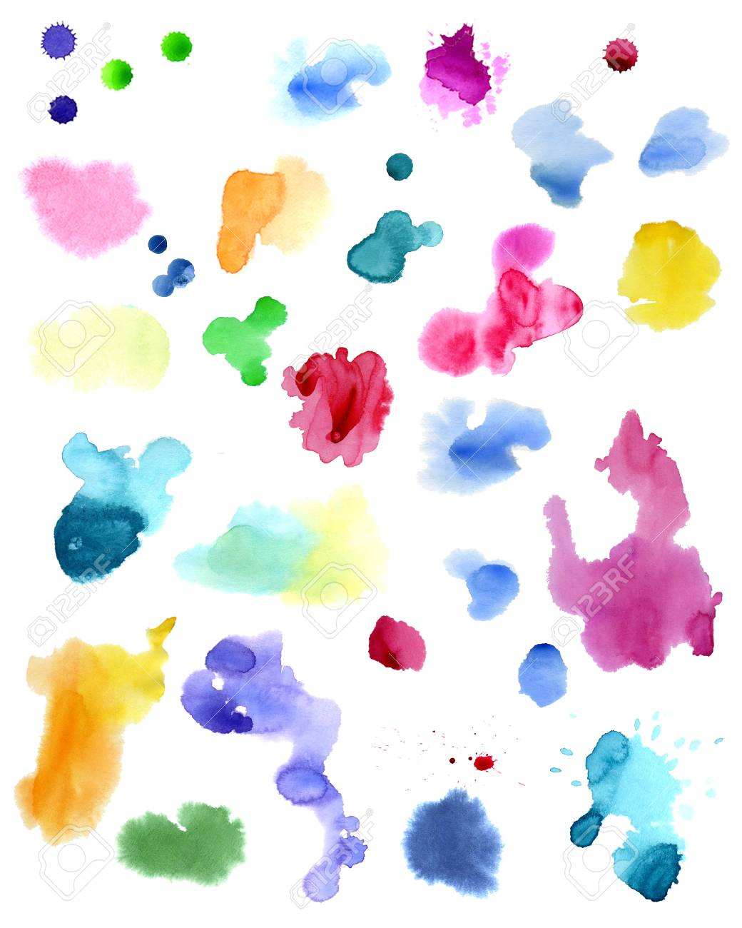 Watercolor splashes isolated on white background. Hand drawn illustration. Abstract colorful shapes. - 63721265