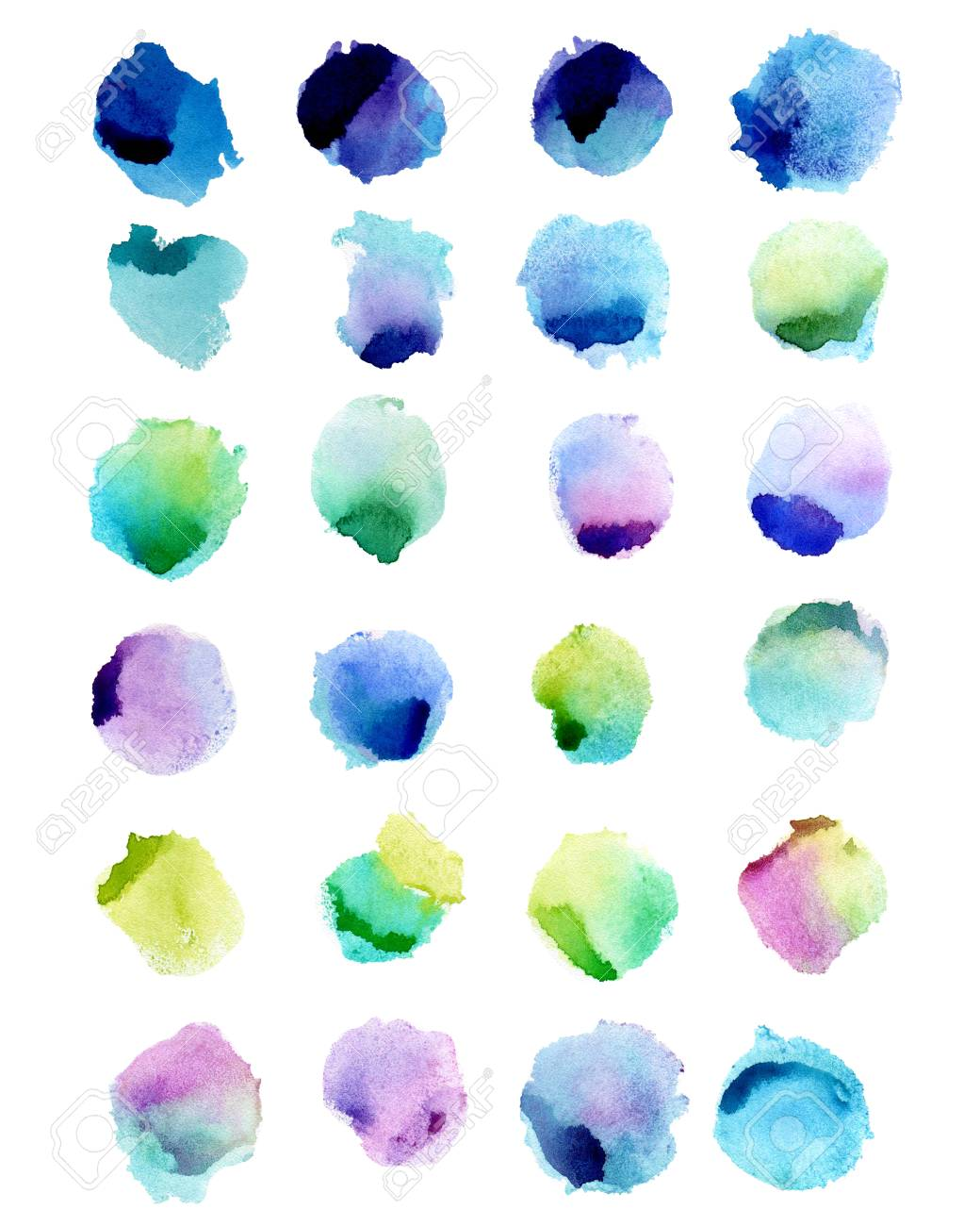 Watercolor splashes isolated on white background. Hand drawn illustration. Abstract colorful shapes. - 63721264