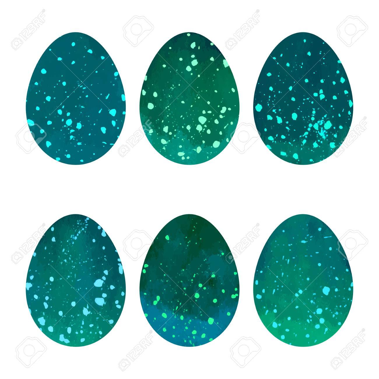 Watercolor Easter eggs set. Vector design elements. - 69126957