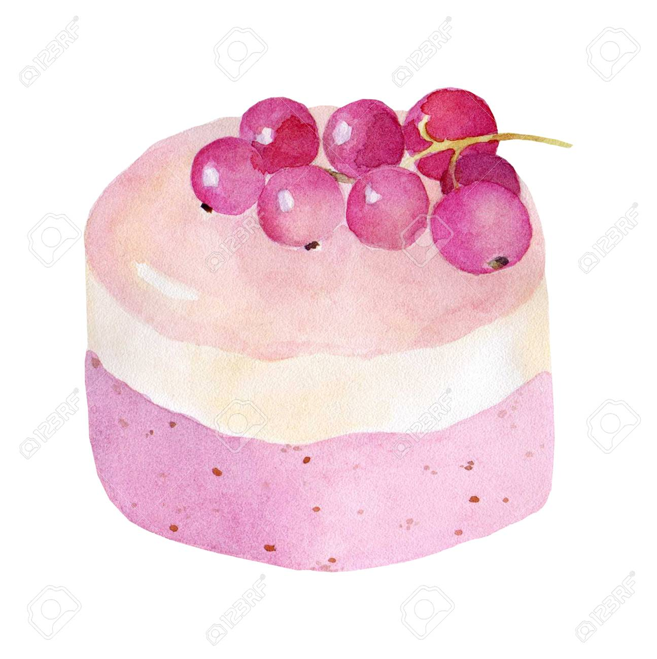 Cake on white background hand drawn watercolor illustration on white background. It can be used for card, postcard, cover, invitation, wedding card, birthday card. - 67669951