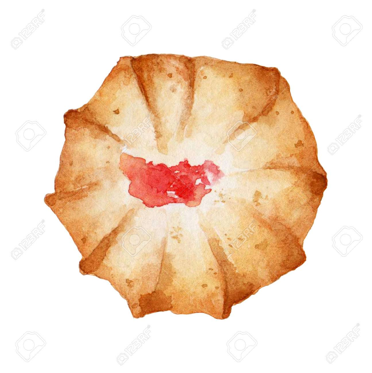 Shortbread cookies hand drawn watercolor illustration on white background. It can be used for card, postcard, cover, invitation, birthday card. - 67669957