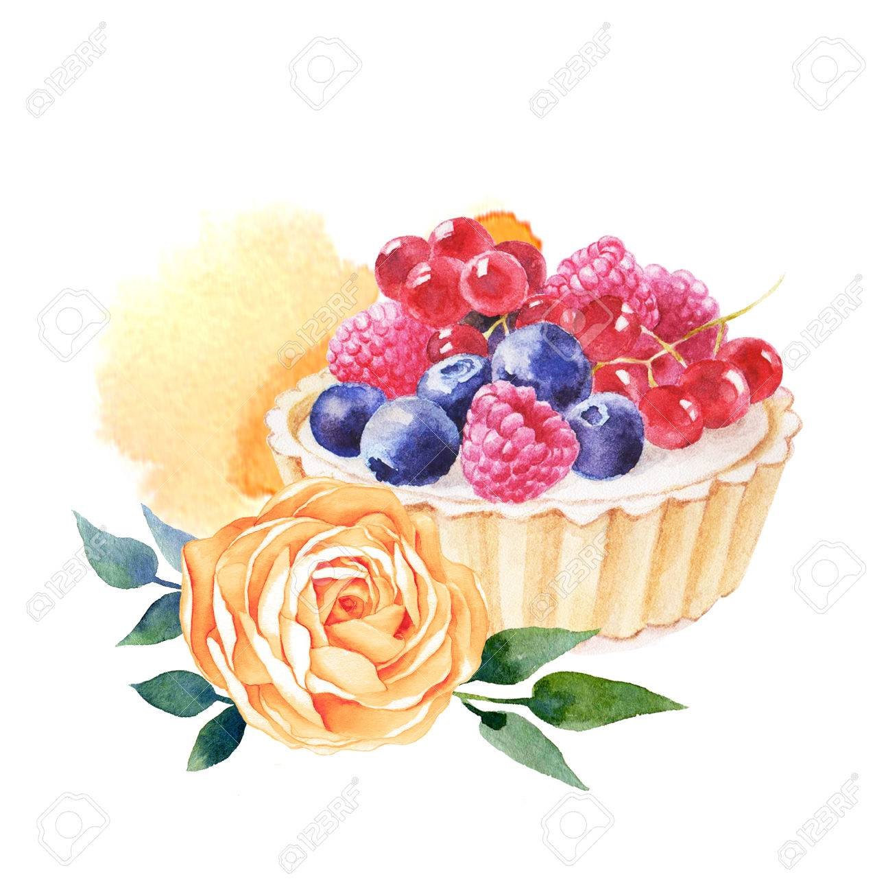 Cake hand drawn watercolor illustration on white background. It can be used for card, postcard, cover, invitation, wedding card, birthday card. - 67644057