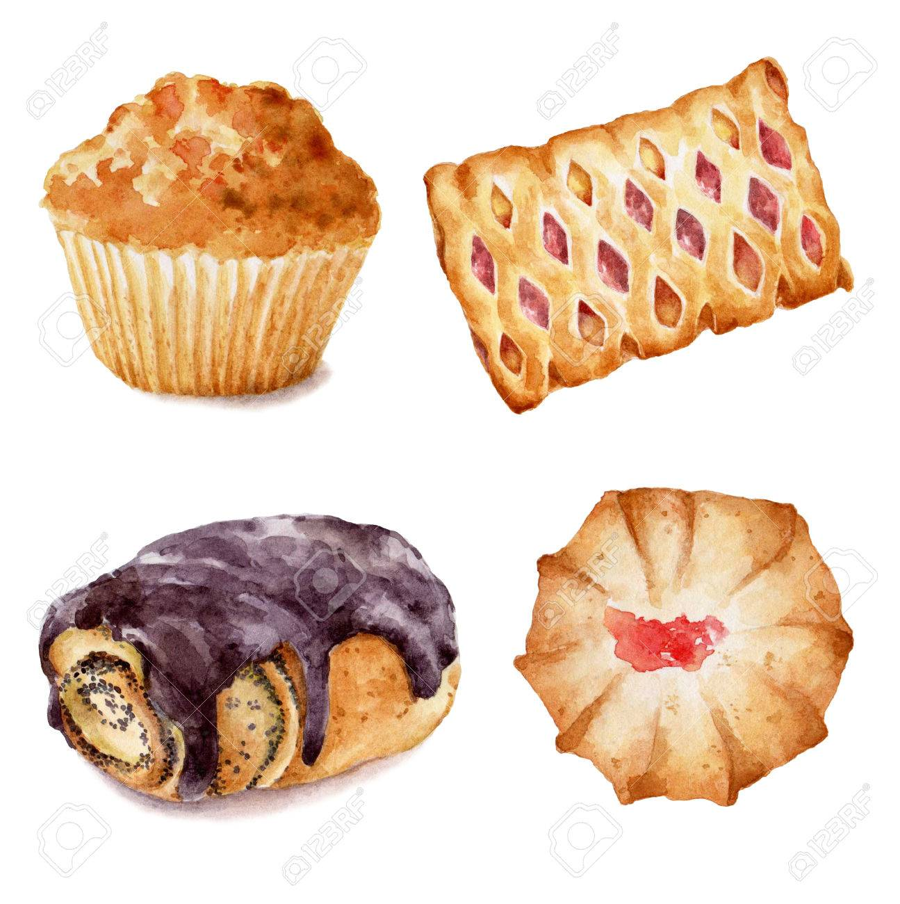 Set of watercolor cupcakes hand drawn illustration on white background. It can be used for card, postcard, cover, invitation, birthday card. - 67644058
