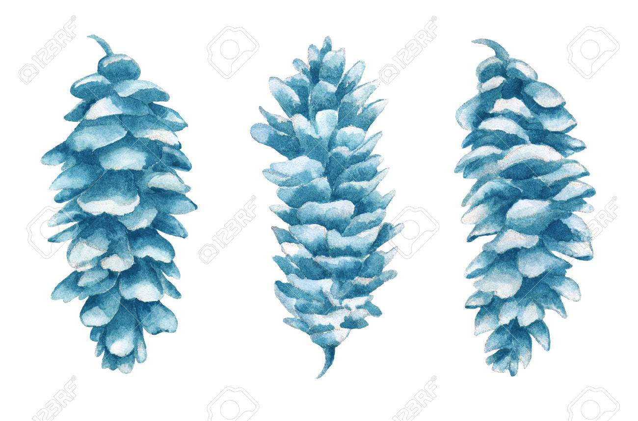 Watercolor cones set in isolated on white background. Cones hand painted illustration. - 74271905