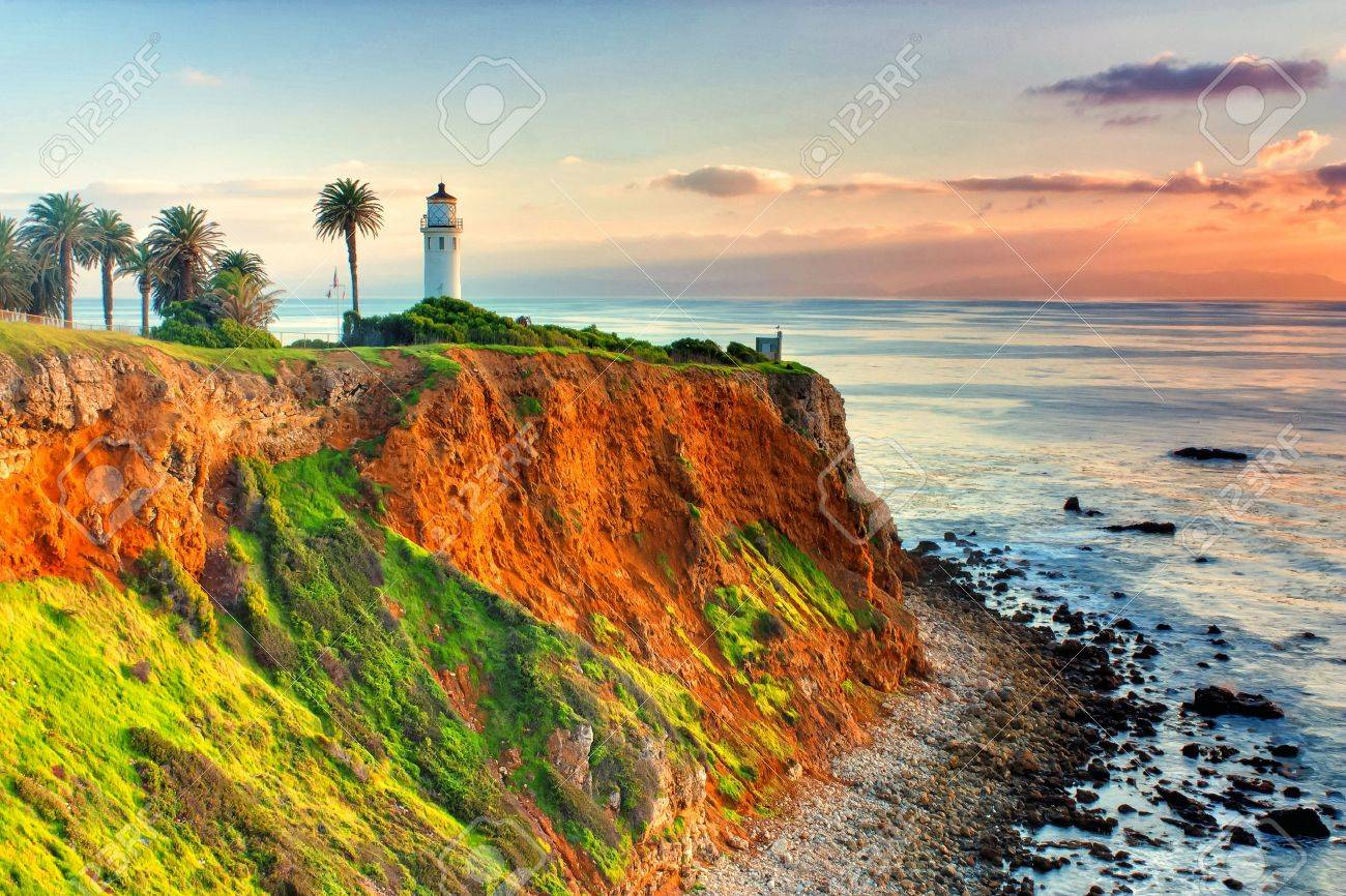 Point Vicente Lighthouse as the sun sets over Catalina Island. Stock Photo - 14697420