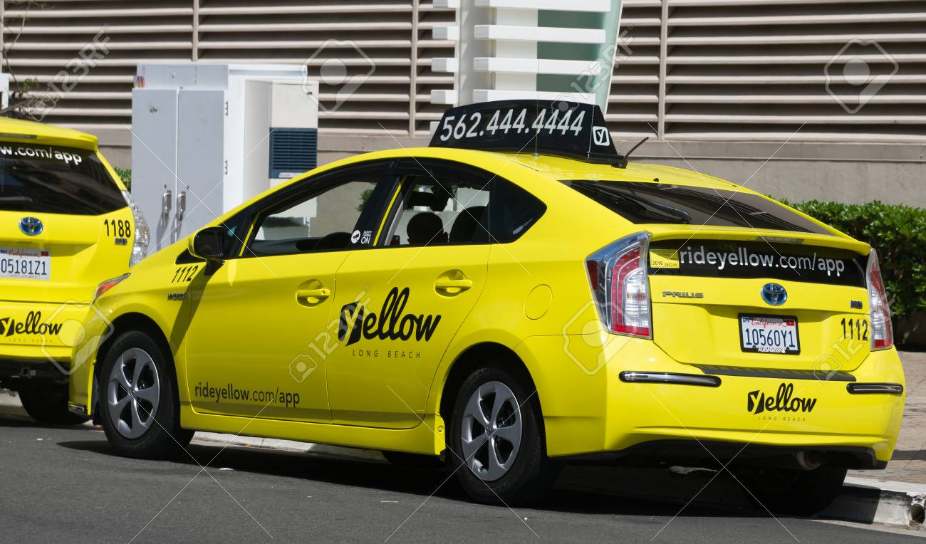 LONG BEACH, CA/USA - MARCH 19, 2016: California Yellow Cab taxi