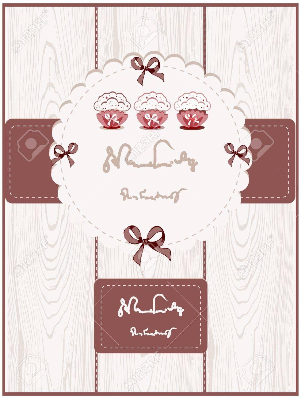 Cute Cupcake Card Stock Vector - 9684546
