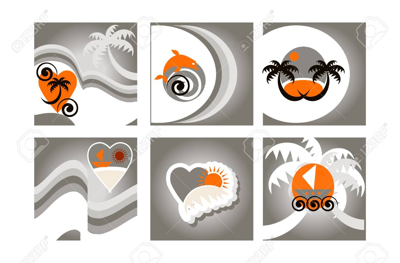 Set of six colorful Tropical Background, cards with beach emblems Stock Vector - 9935646