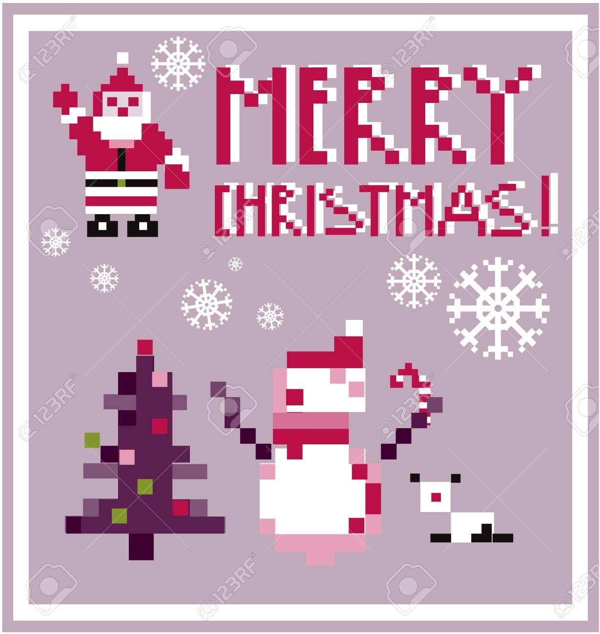 Pixel Carte Vacances Personnes Père Noël Et Bonhomme De Neige Carte