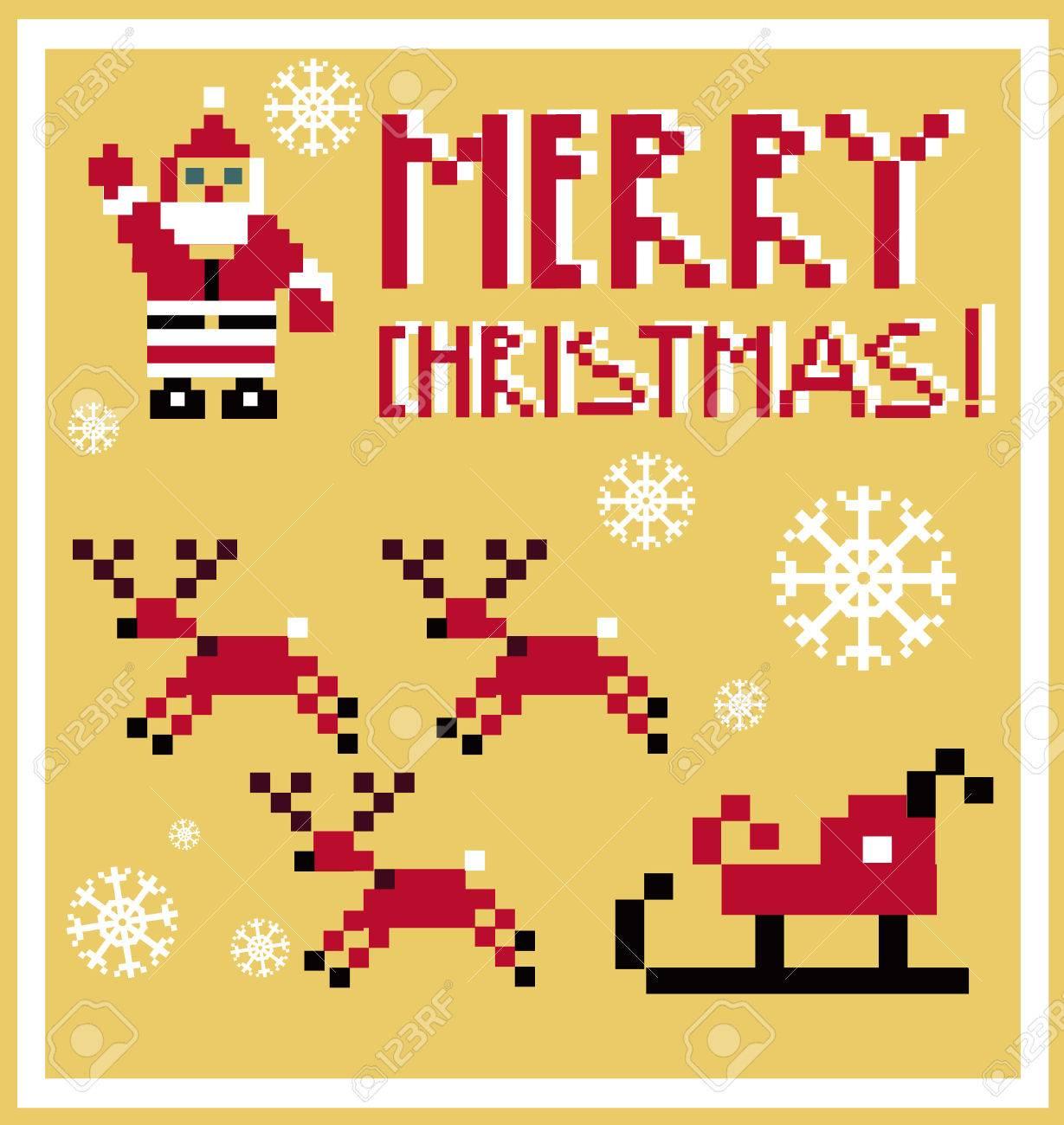 Pixel Vacances De Renne Du Père Noël Icônes De Traîneau Mis Thème Dans Le Style Pixel Art Illustration Vectorielle