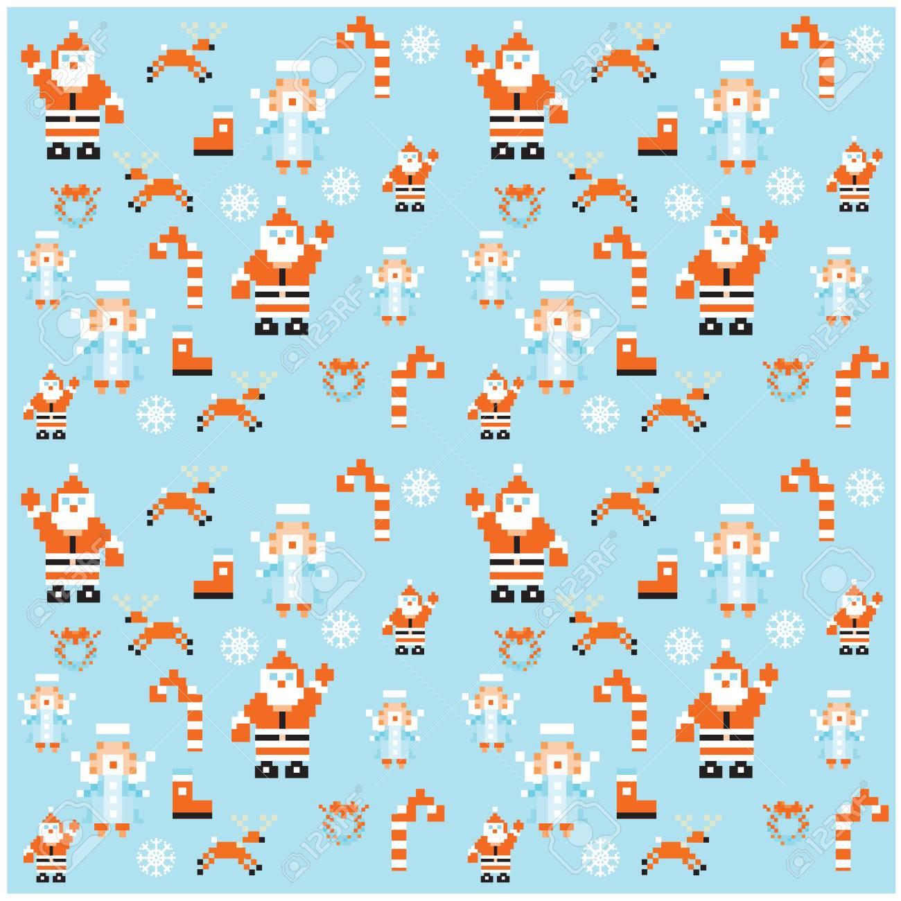 Pixel De Vacances Papier Cadeau Seamless Background Noël Et Nouvel