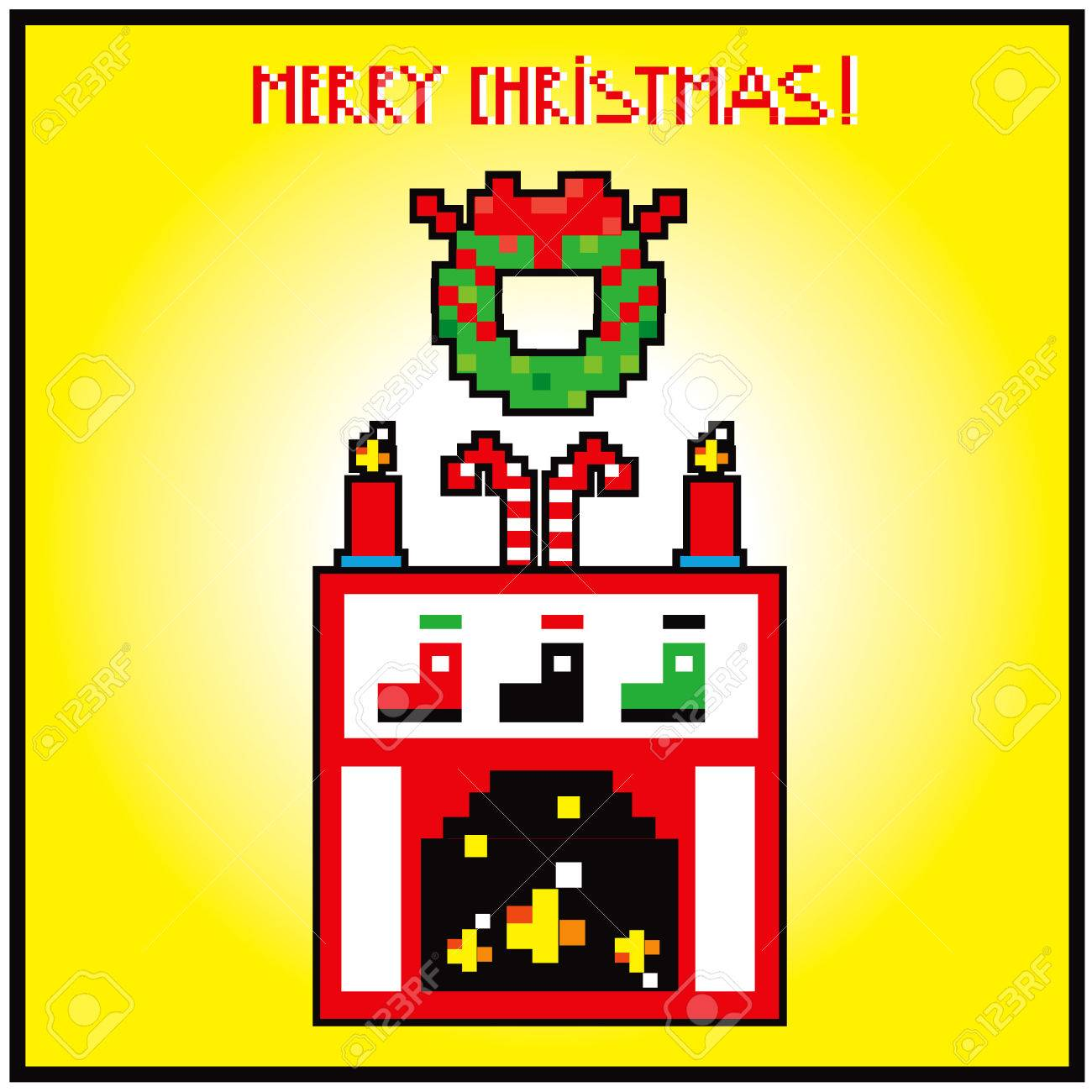 Pixel Art Xmas Home Sweet Home Rairplace Background Card Merry