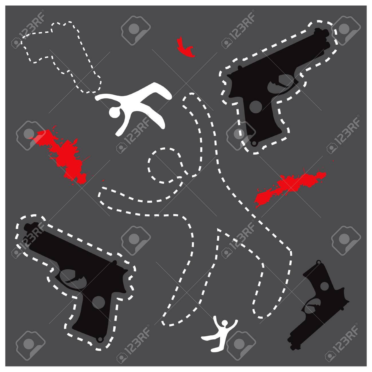 silhouette of the dead man and gun on the ground vector background dead body otline