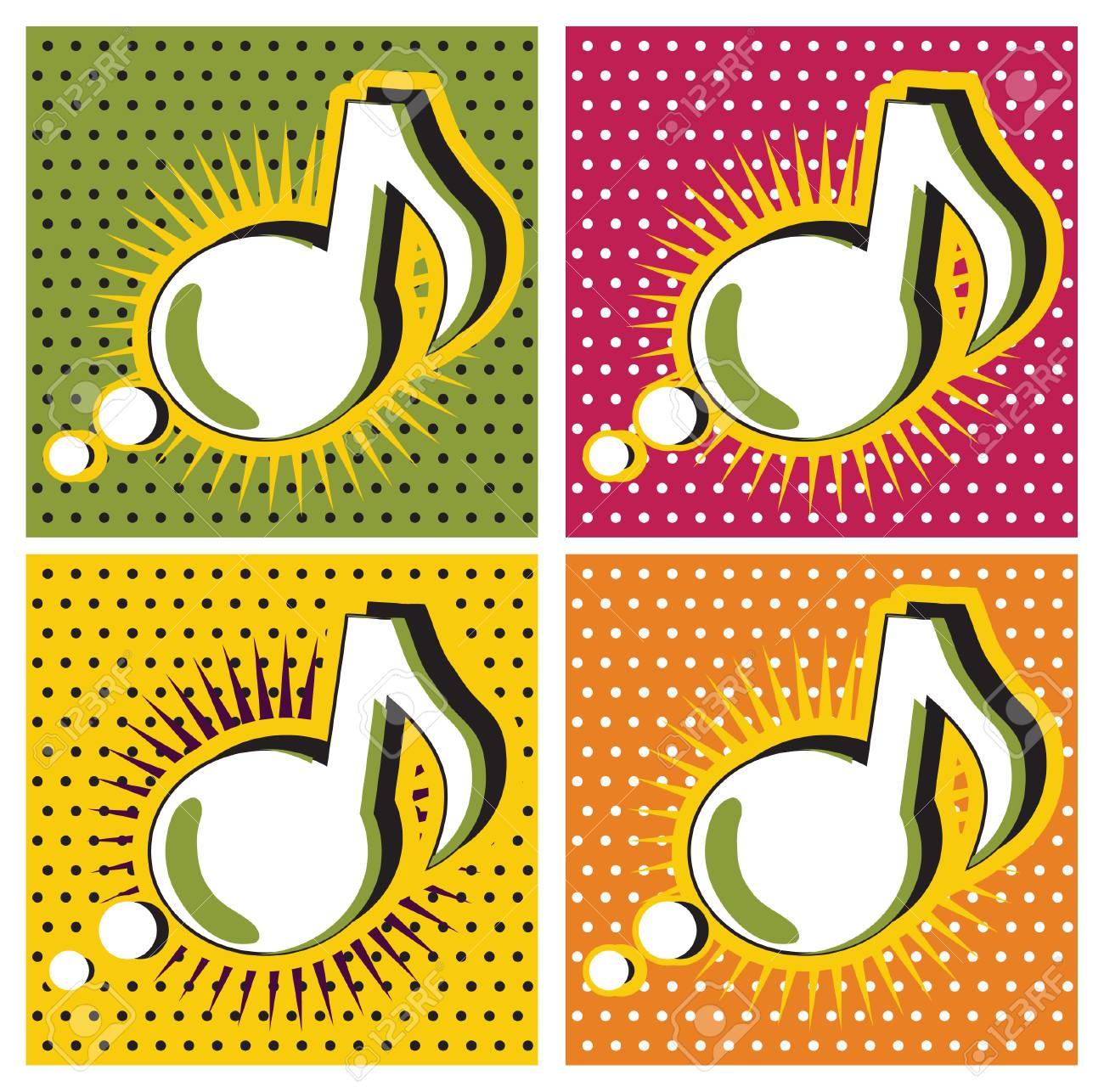 Speech Bubble Music Note In Pop-Art Style Stock Photo, Picture And ...