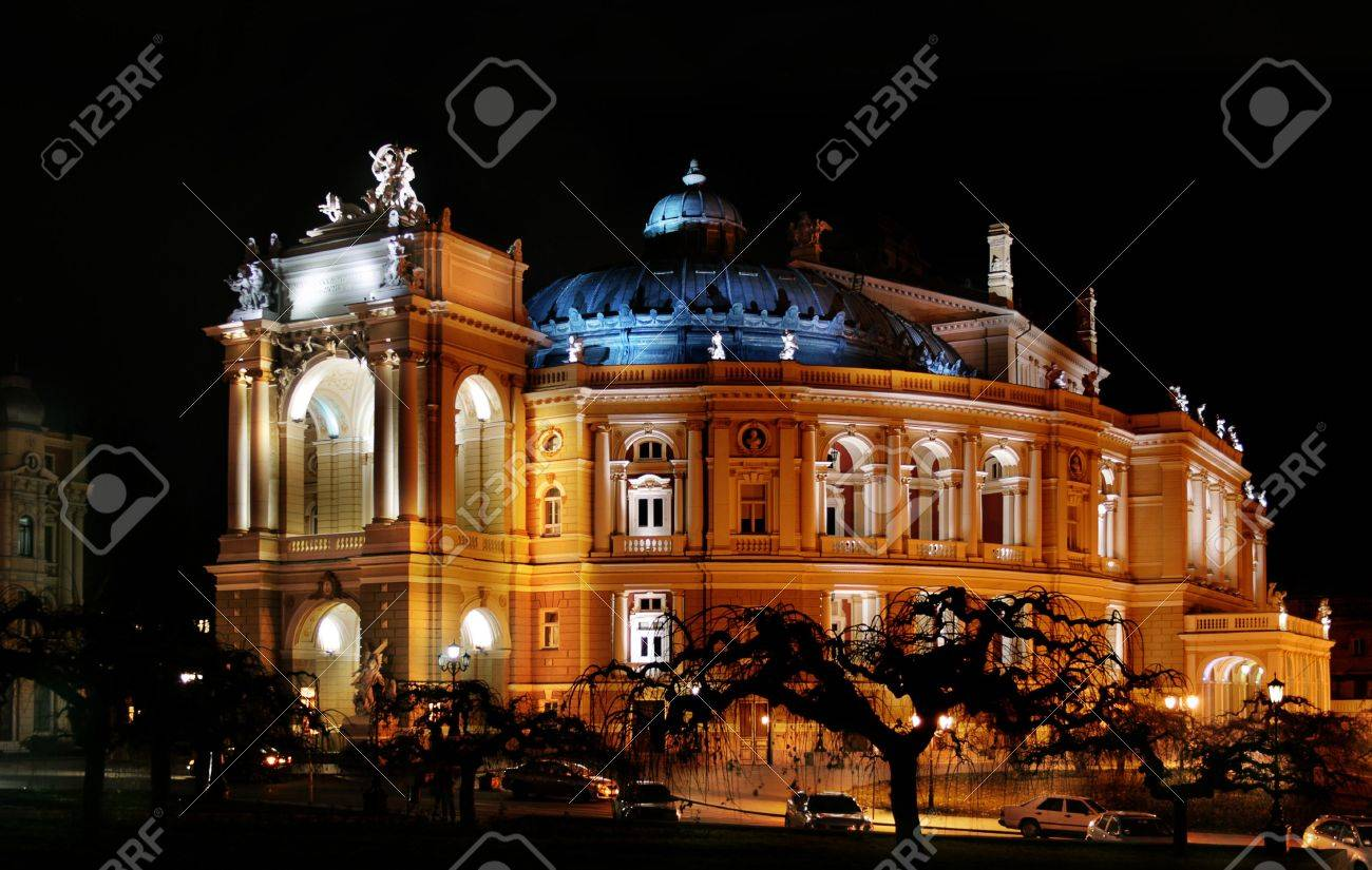 Night kind of the Odessa academic opera and theatre of Viennese Stock Photo - 4608971