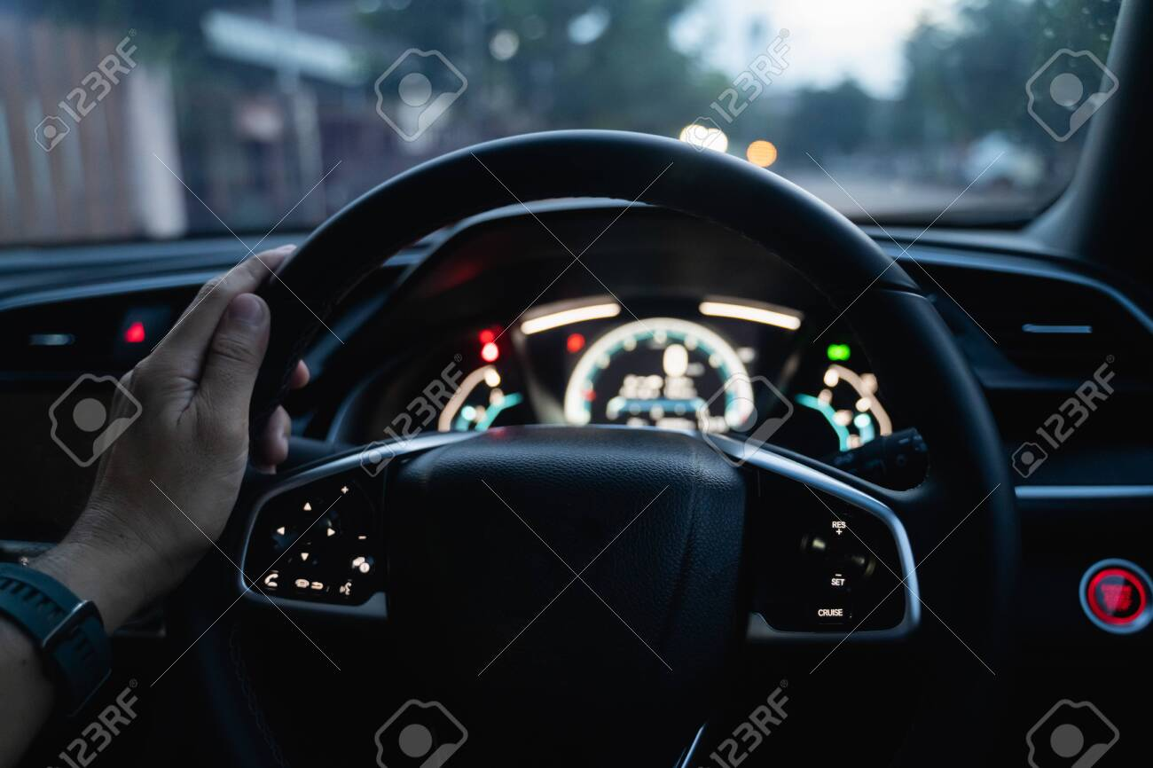 Interior The Car Steering Wheel At Night Stock Photo Picture And Royalty Free Image Image 155316784