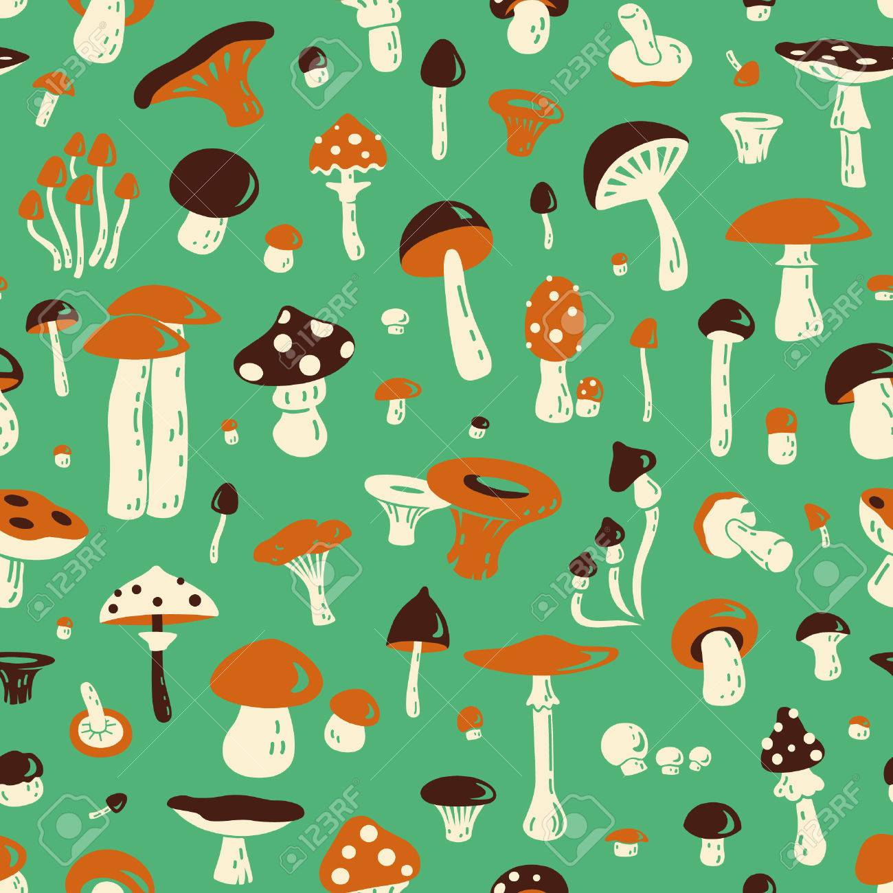 Seamless Pattern With Mushroom For Fabric Postcards Prints Royalty Free Cliparts Vectors And Stock Illustration Image 48691502