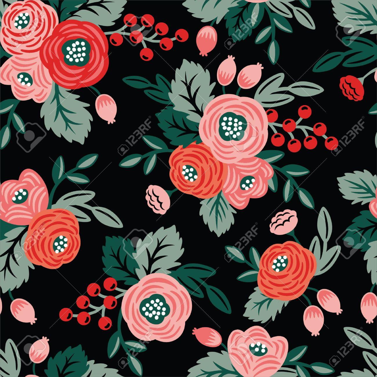 Seamless Floral Sur Un Fond Noir Pour Papier Peint Tissus