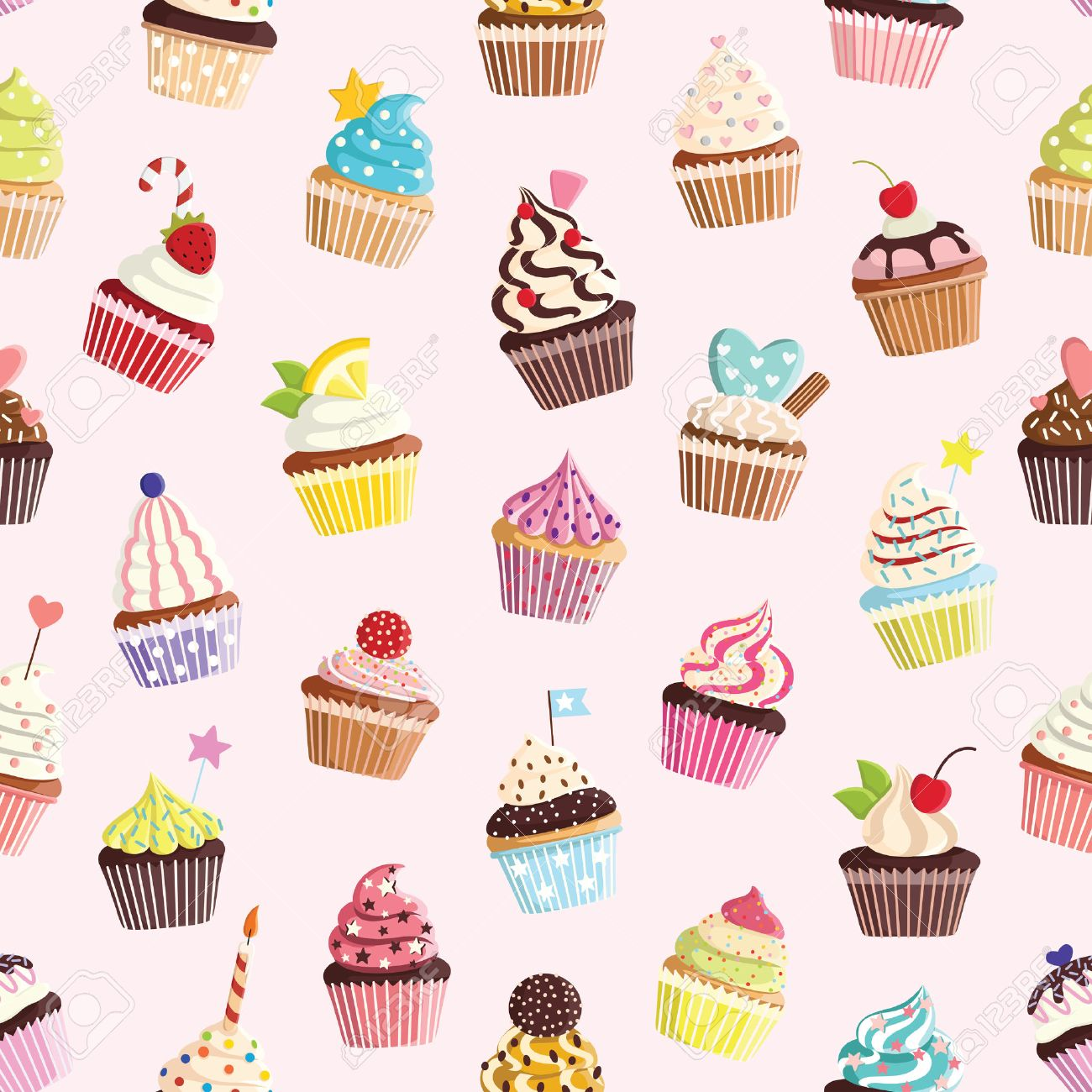 かわいいカラフルなカップケーキとパターン テキスタイル カード 装飾品 壁紙ののイラスト素材 ベクタ Image