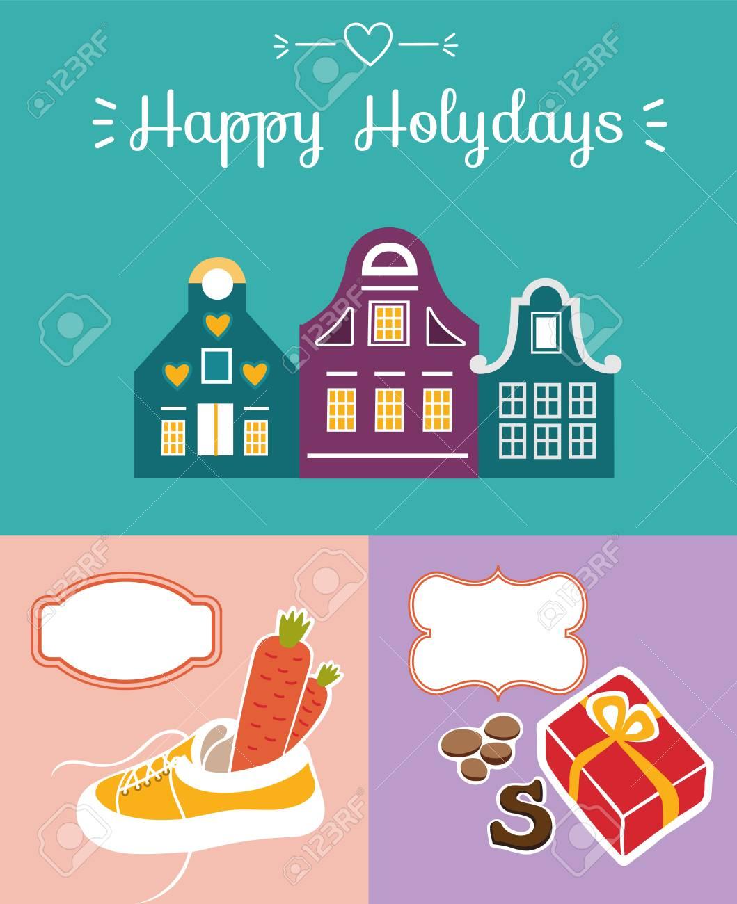 Set Of Cute Greeting Card For Saint Nicholas Sinterklaas Day