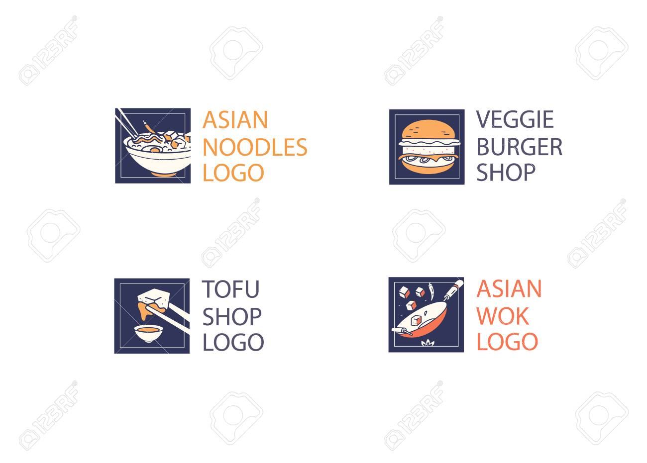 Noodle And Tofu Or Burger Restaurant And Food Logo Vector Template Royalty Free Cliparts Vectors And Stock Illustration Image 123016958