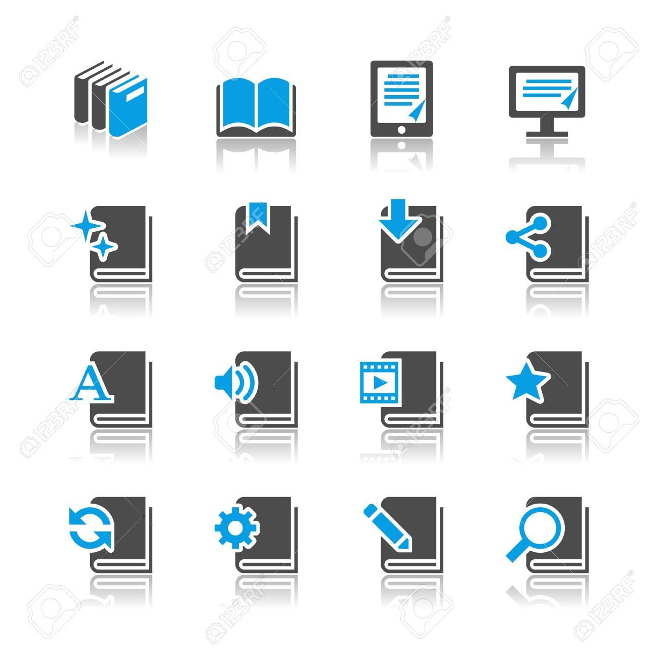 Book icons - reflection theme Stock Vector - 18915401