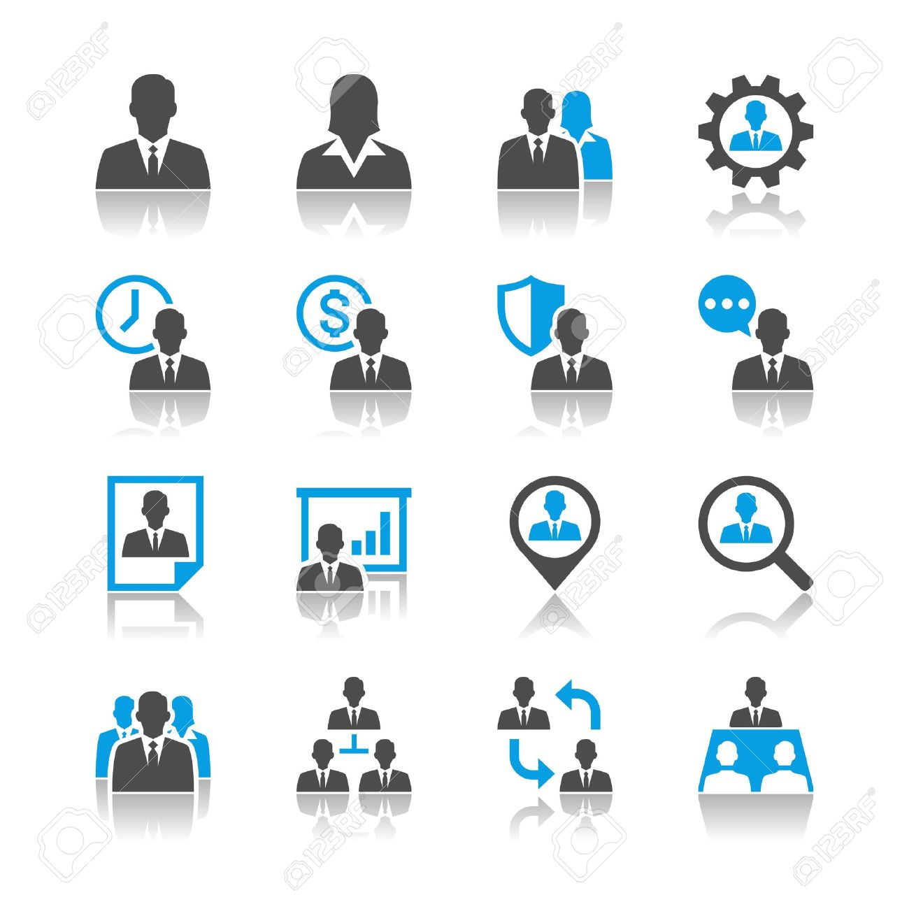 Human resource management icons - reflection theme Stock Vector - 18905601