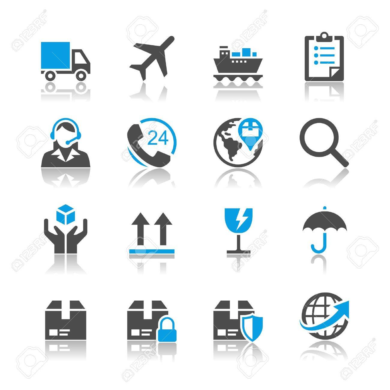 Logistics and shipping icons - reflection theme Stock Vector - 18915404