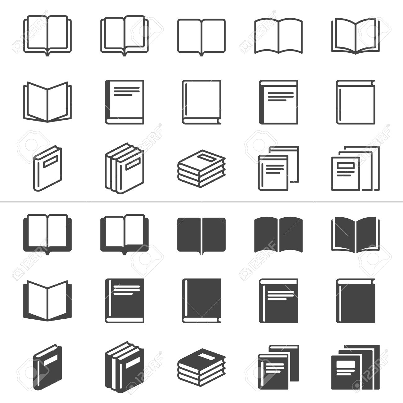 Book thin icons, included normal and enable state Stock Vector - 24193855