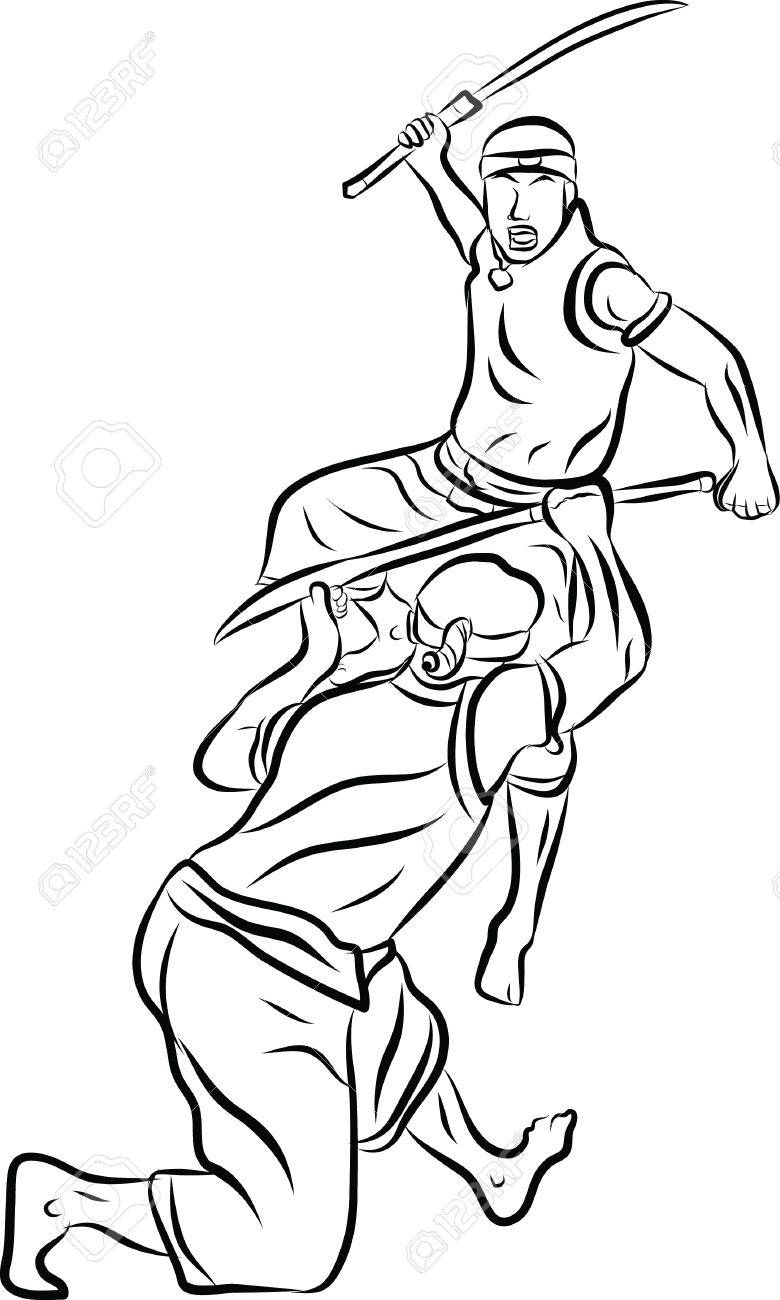 hand drawn Thai martial arts and muay thai boran Stock Vector - 19900848