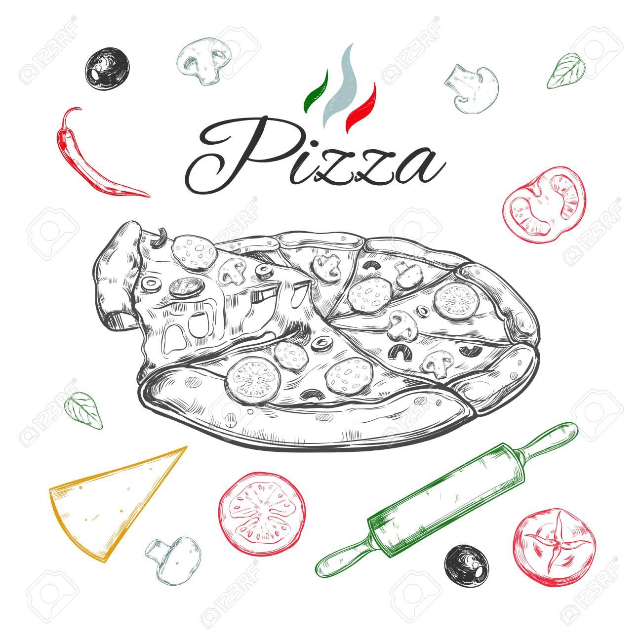 Pizza. Vektor Hand Gezeichnet Illustration. Italienische Küche ...