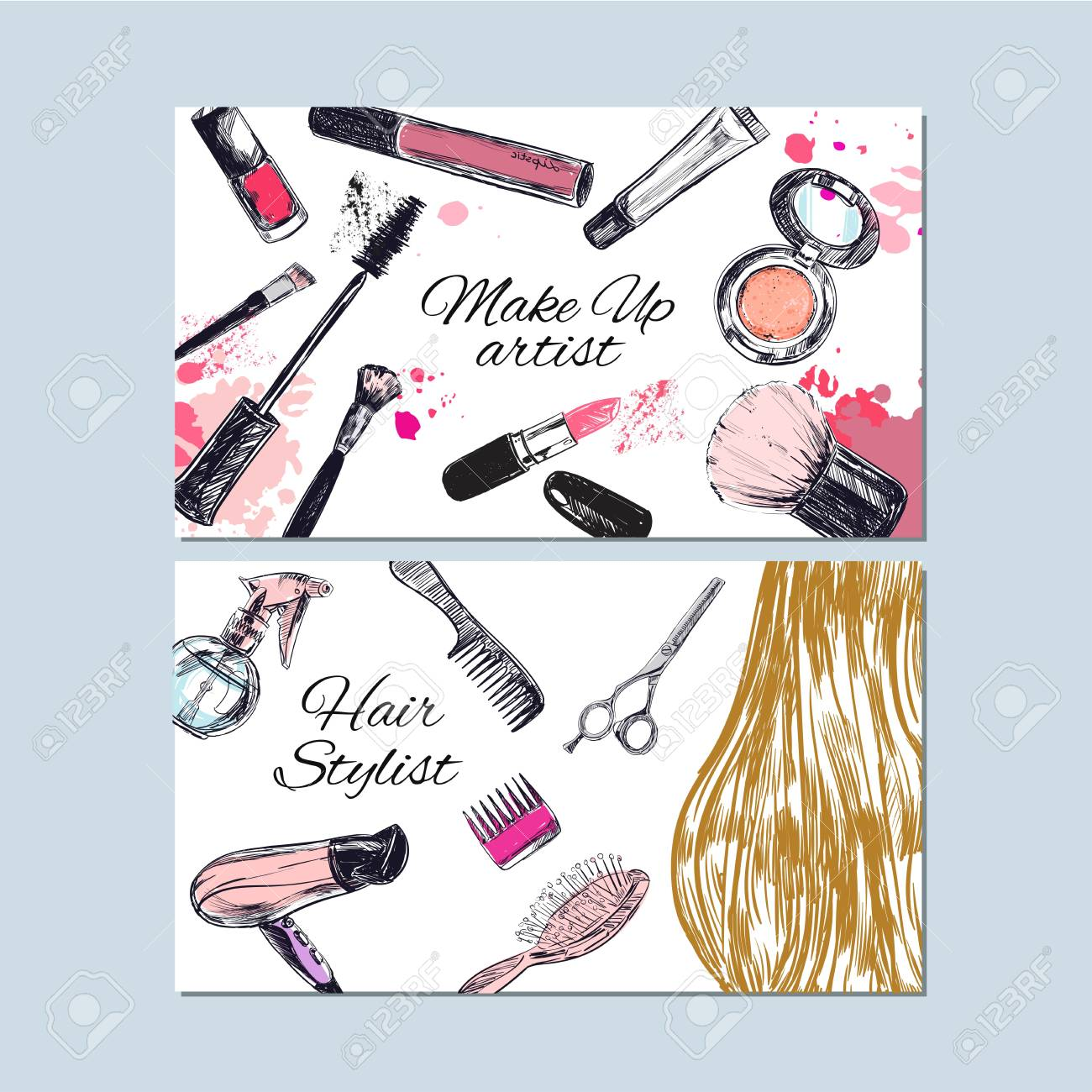 Make up artist and hair stylist business cards beauty and fashion make up artist and hair stylist business cards beauty and fashion vector hand drawn reheart Choice Image