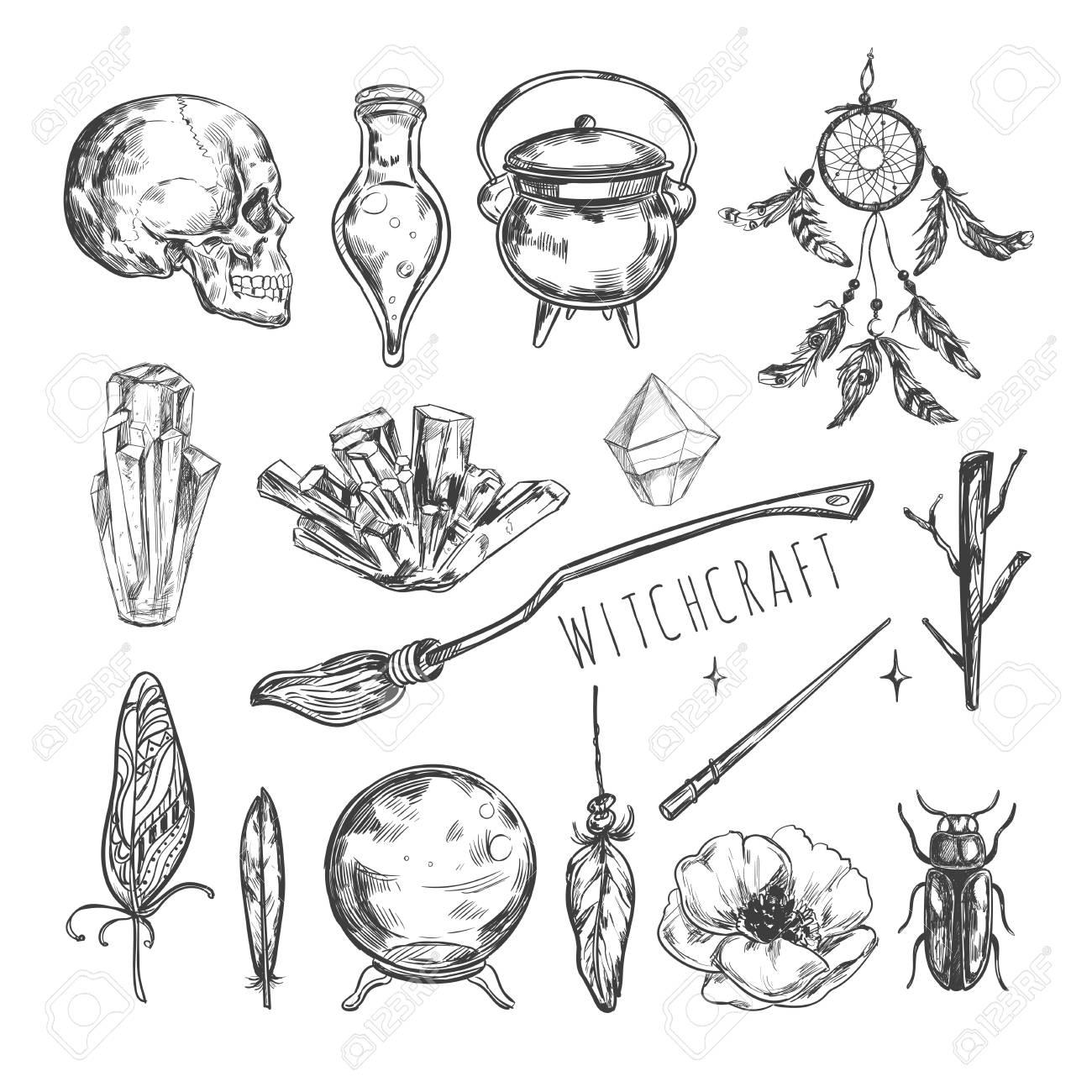 Juego Mágico Dibujado A Mano Ilustración Del Vector Hechicería