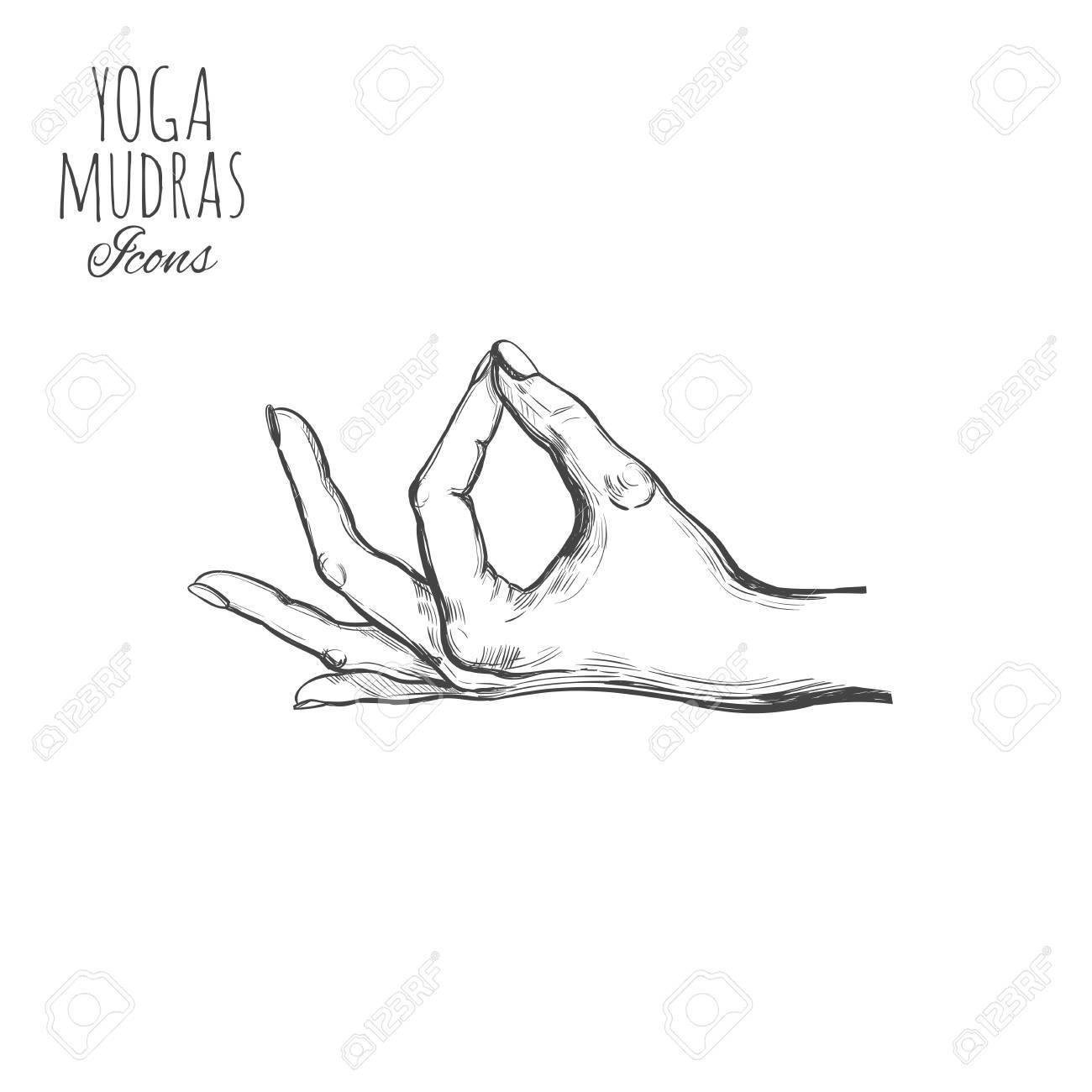 Indian mudra  Spirituality  India Yoga Vector hand drawn poster,