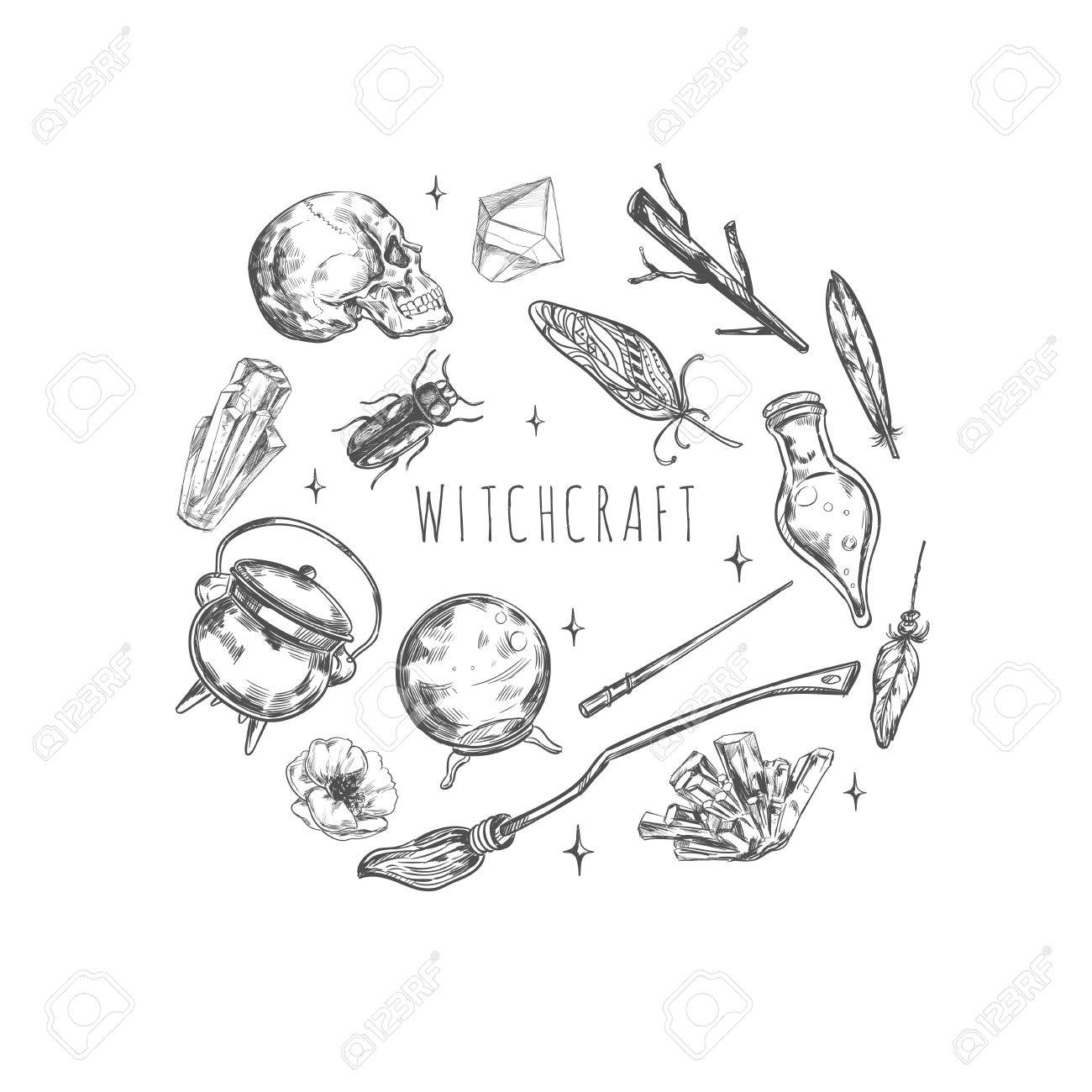 Hand drawn magic set illustration wizardry witchcraft symbols hand drawn magic set illustration wizardry witchcraft symbols isolated icons collection cartoon sorcery concept buycottarizona