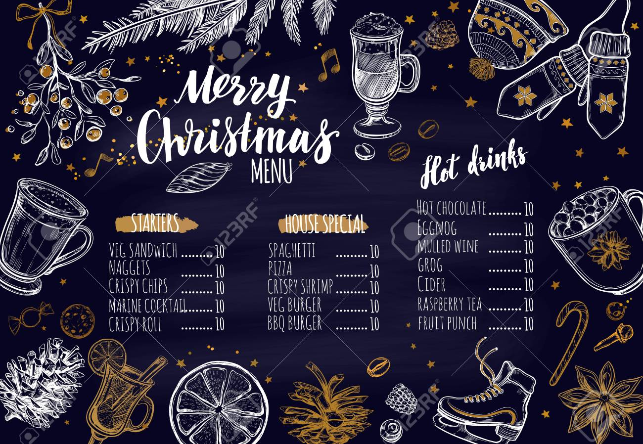 merry christmas festive winter menu on chalkboard design template