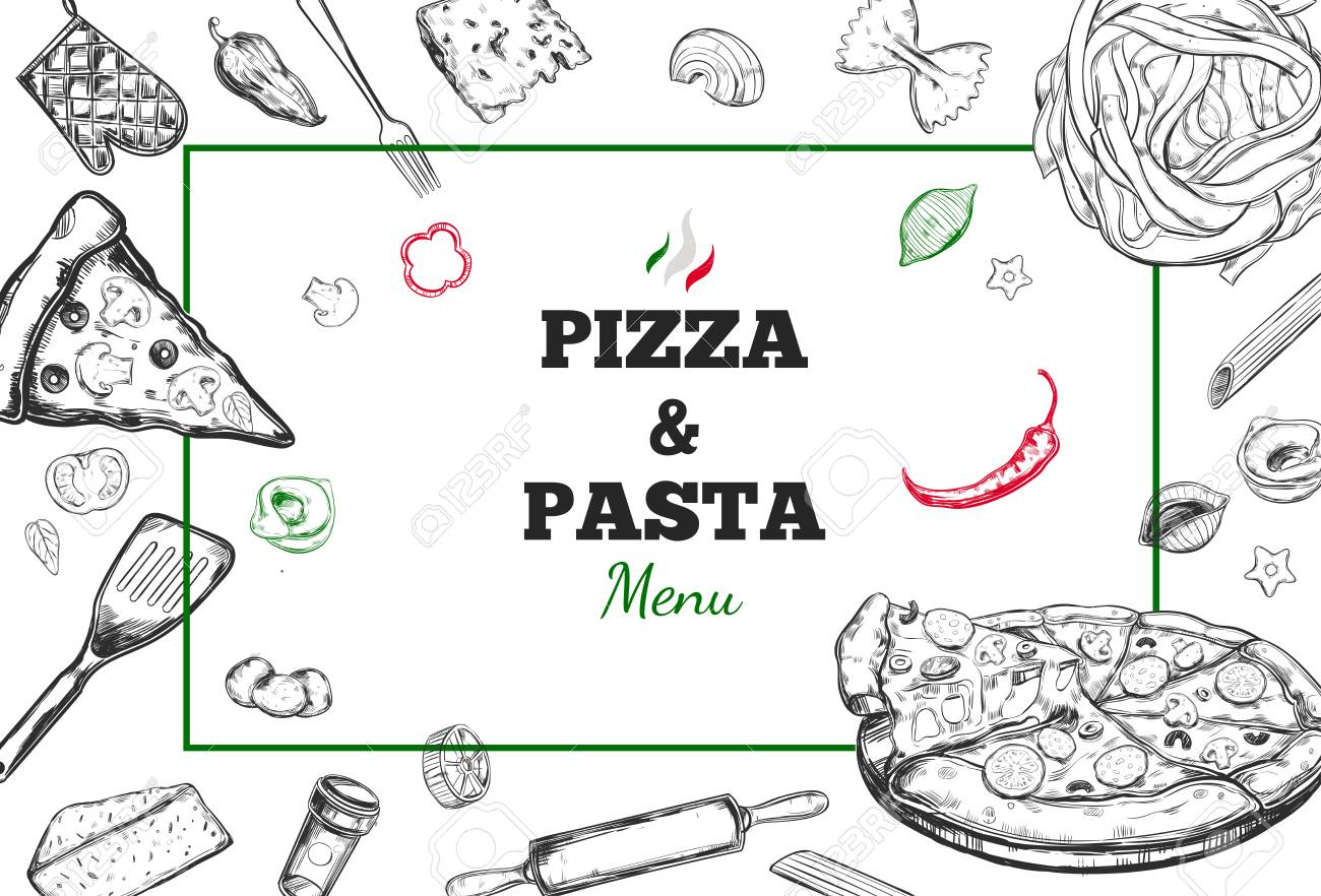 pizza and pasta vector menu cover design template with different