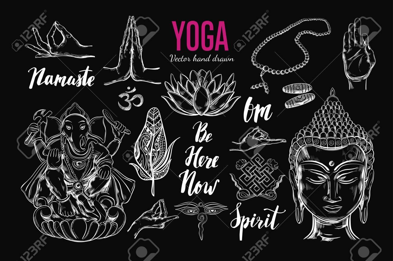 Yoga Set Vector Isolated Hand Drawn Objects Spiritual Symbols