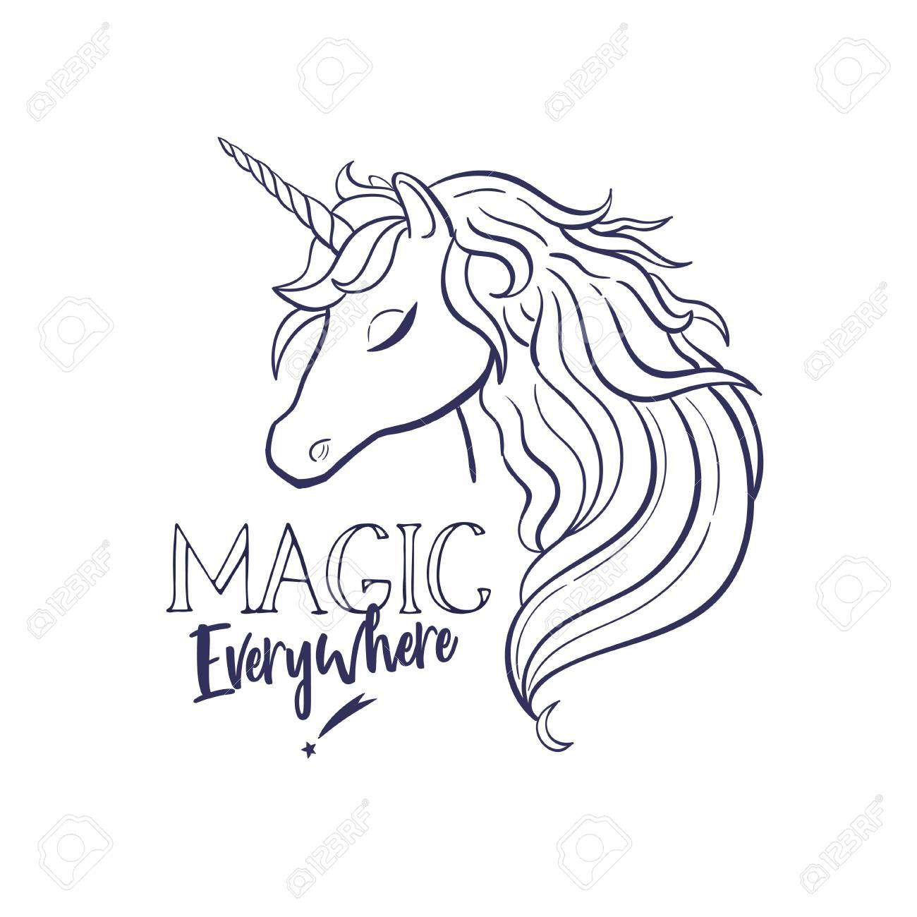 Stock photo unicorn head drawing vector