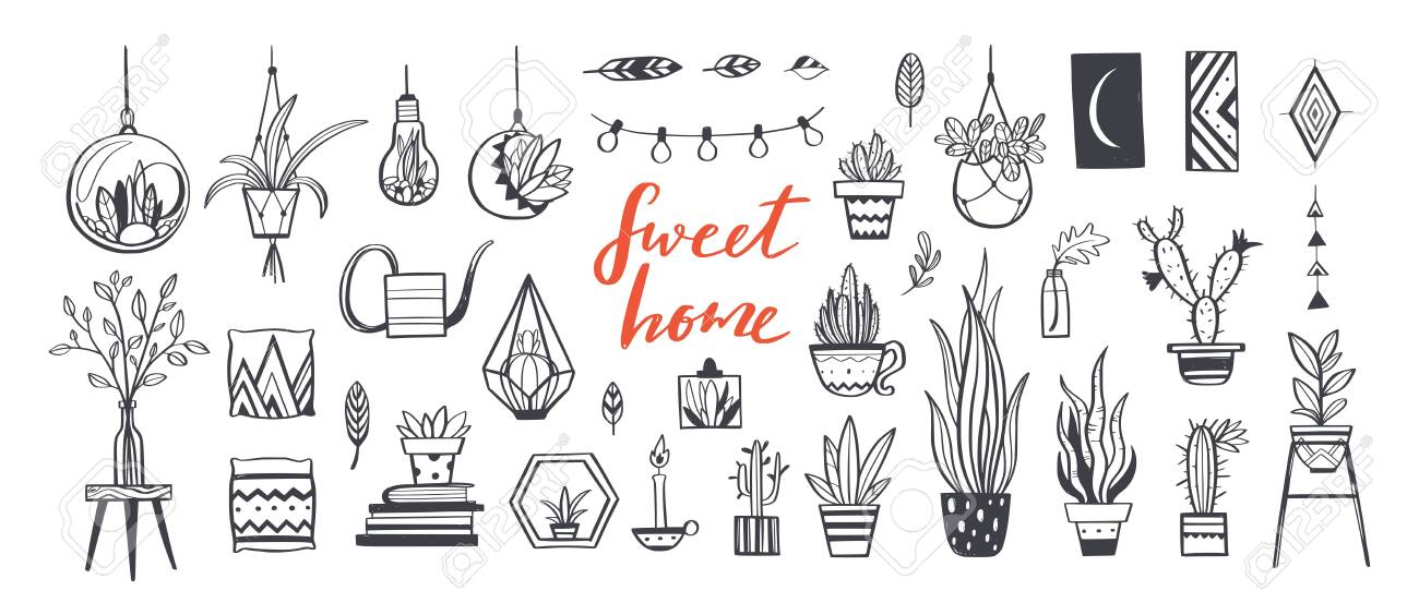 Home Decor And House Plants Vector Hand Drawn Set Home Decorations Royalty Free Cliparts Vectors And Stock Illustration Image 120880188