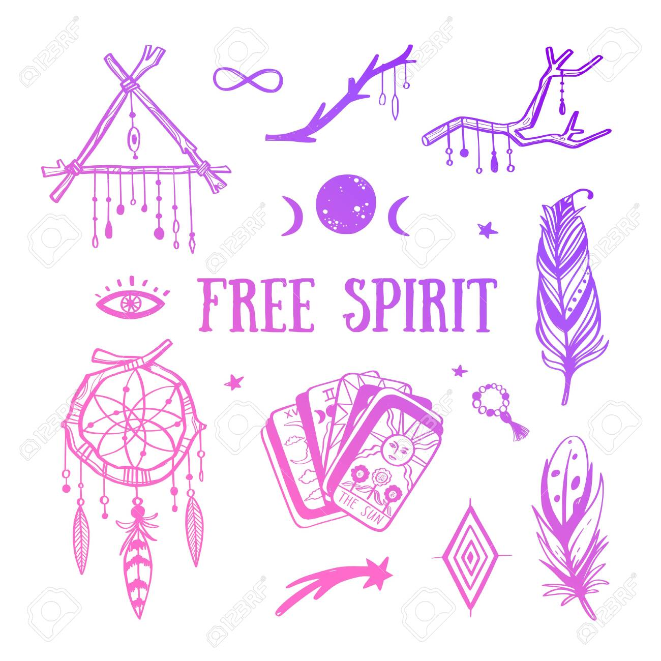 Free Spirit Boho Vector Collection Dreamcatchers Feathers Royalty Free Cliparts Vectors And Stock Illustration Image 154083915