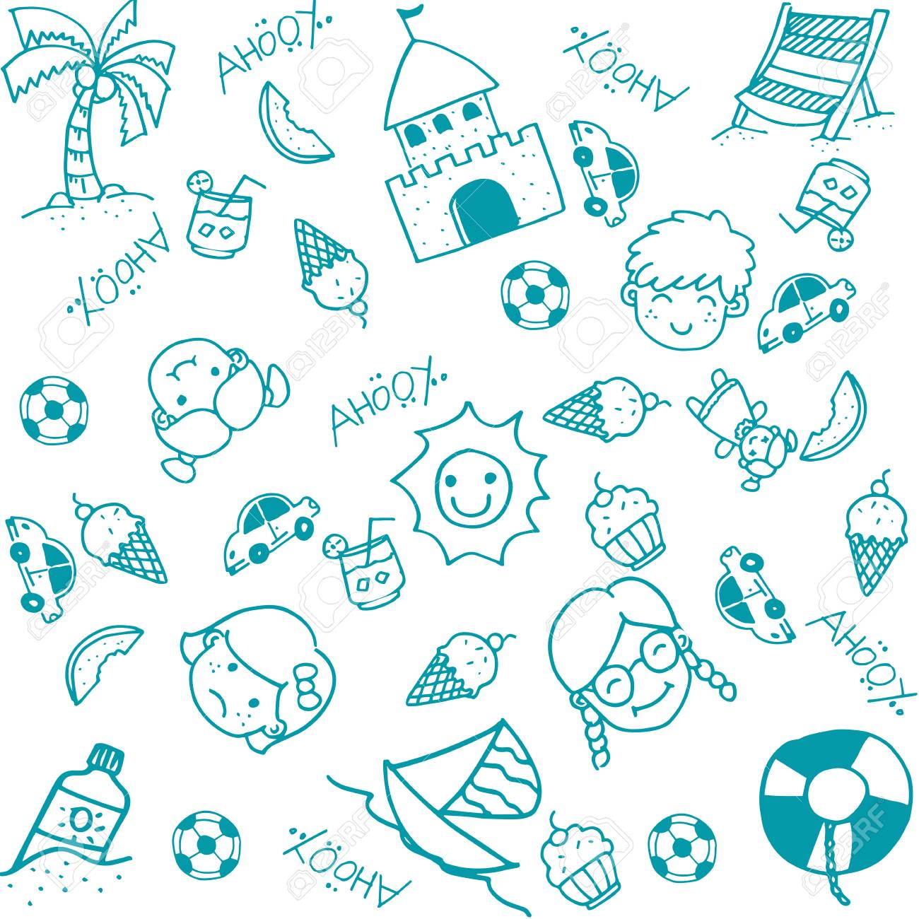 Beach doodle art for kids