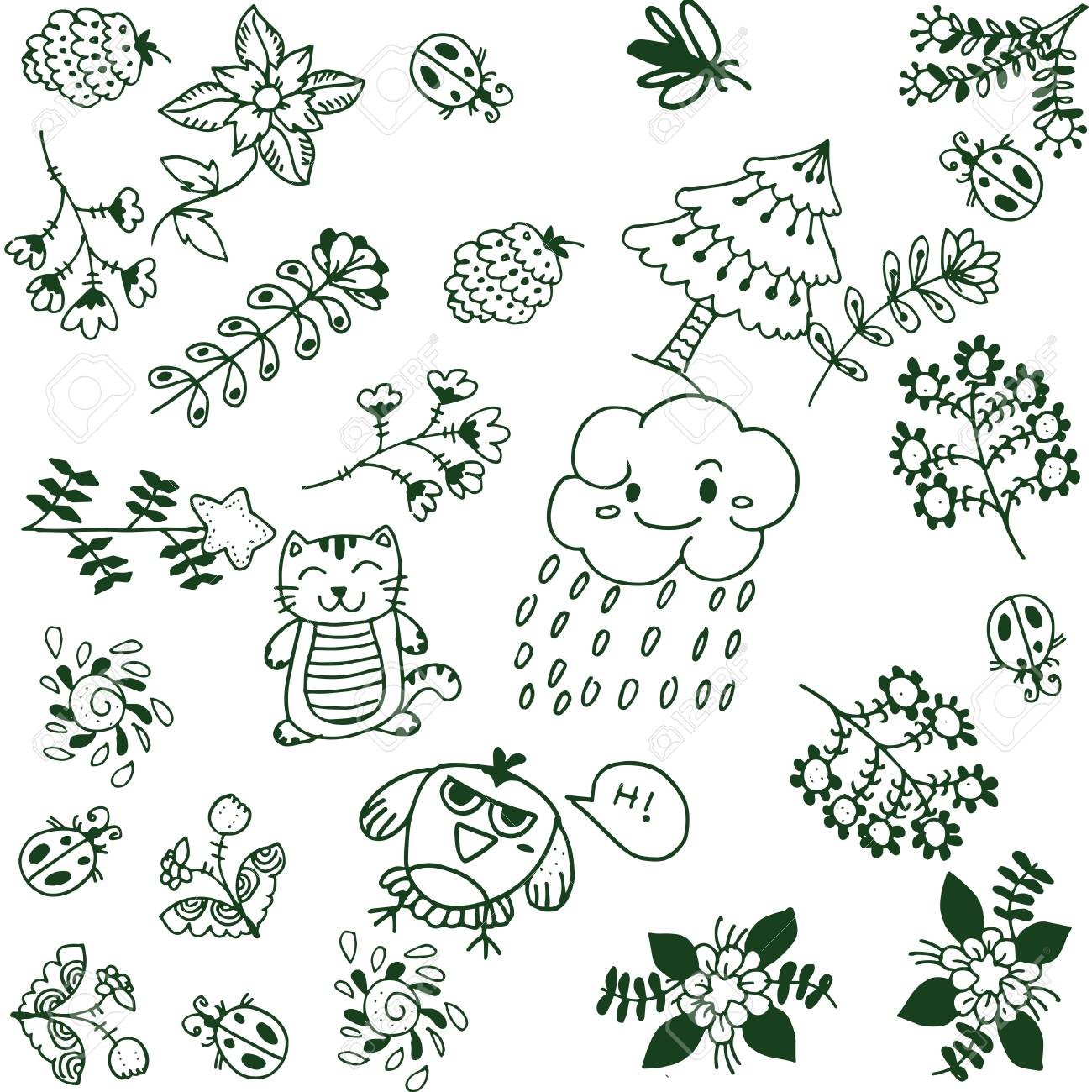 Simple flower doodle art with white backgrounds
