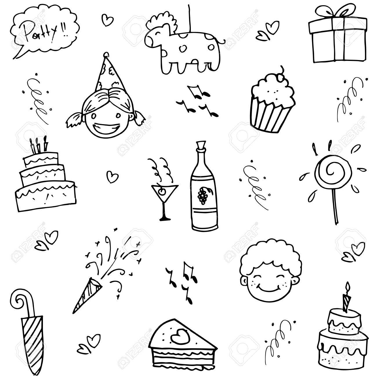 birthday doodle party for kids on white backgrounds royalty free
