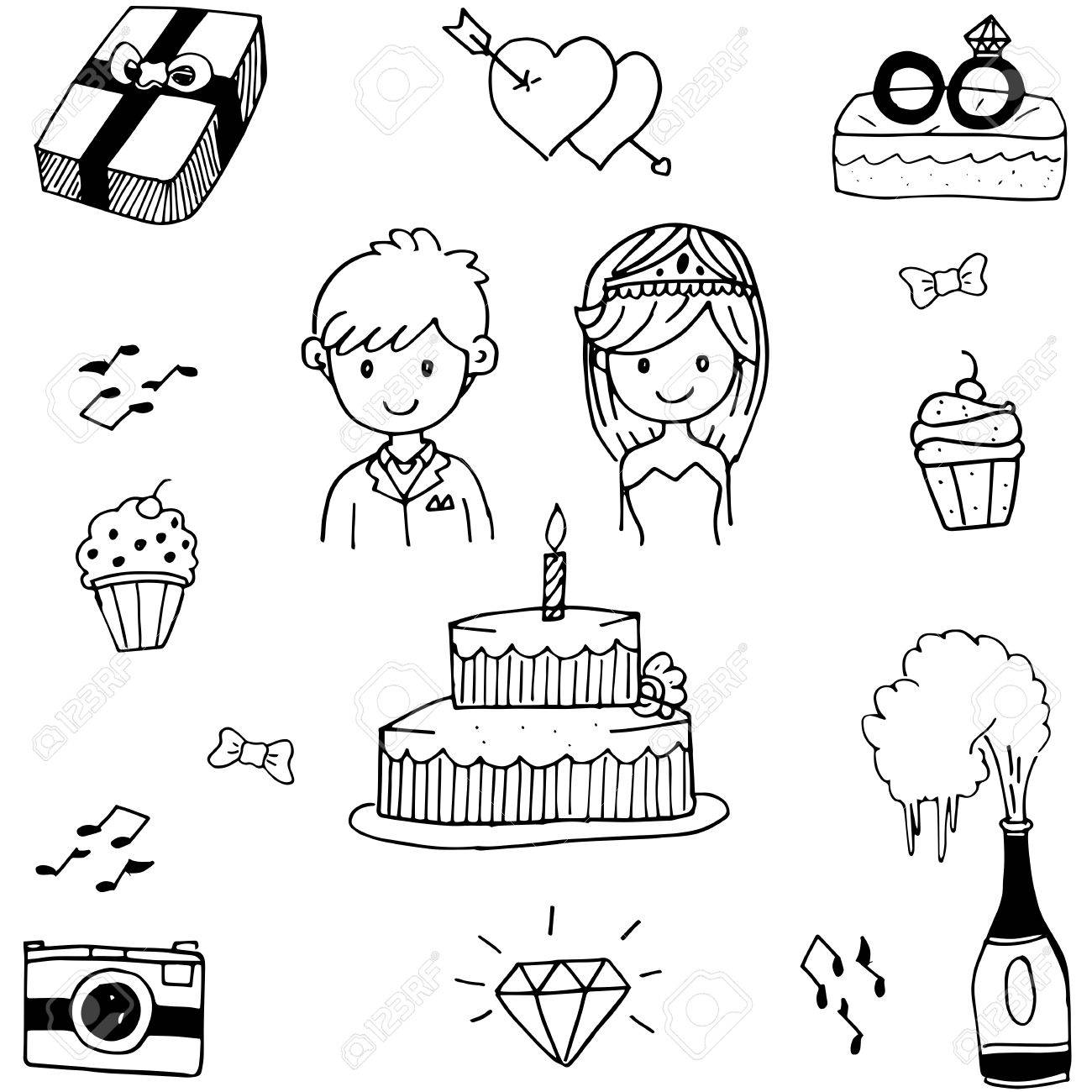doodle of weding party vector on white backgrounds royalty free