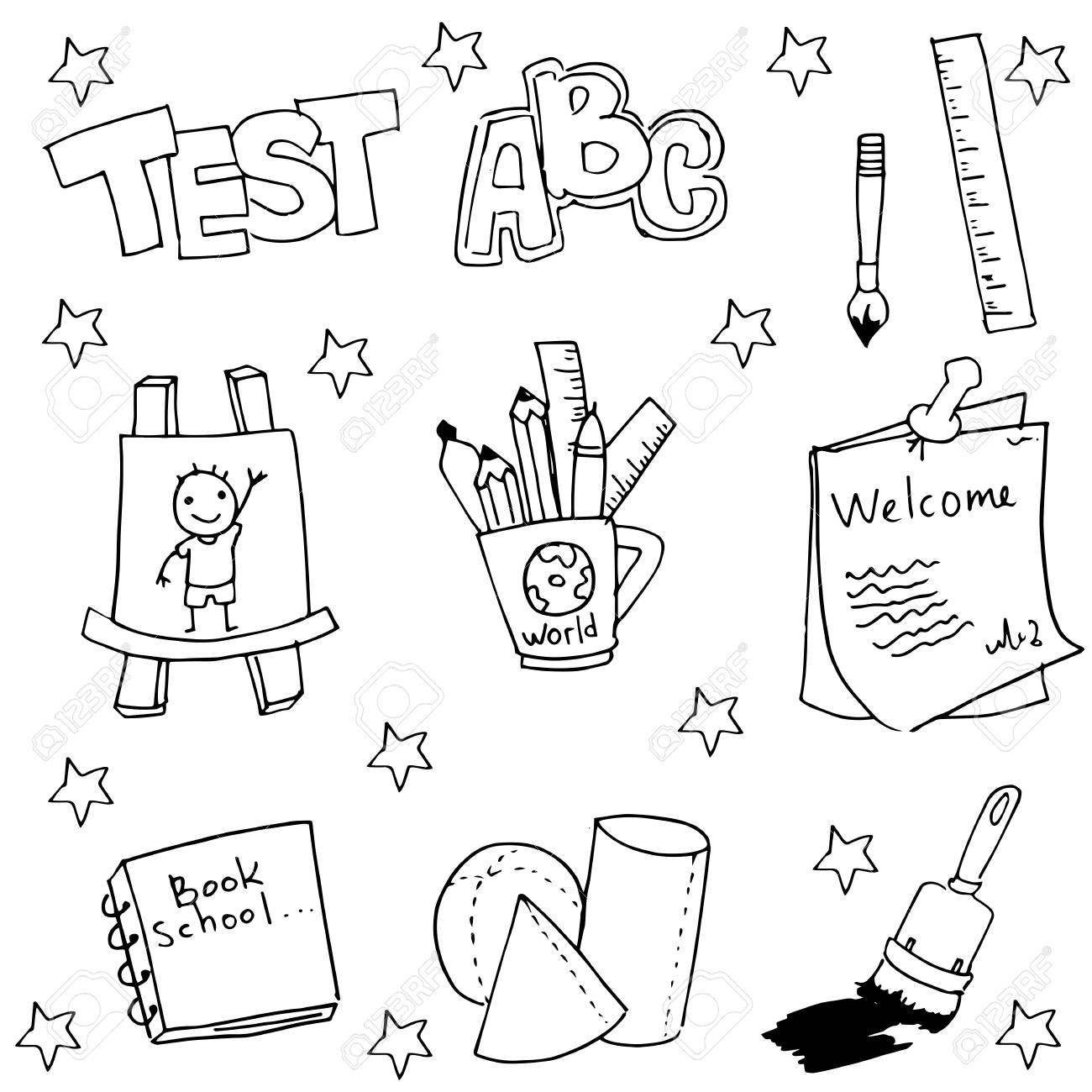 Doodle of school tools with hand draw vector art stock vector 60136460