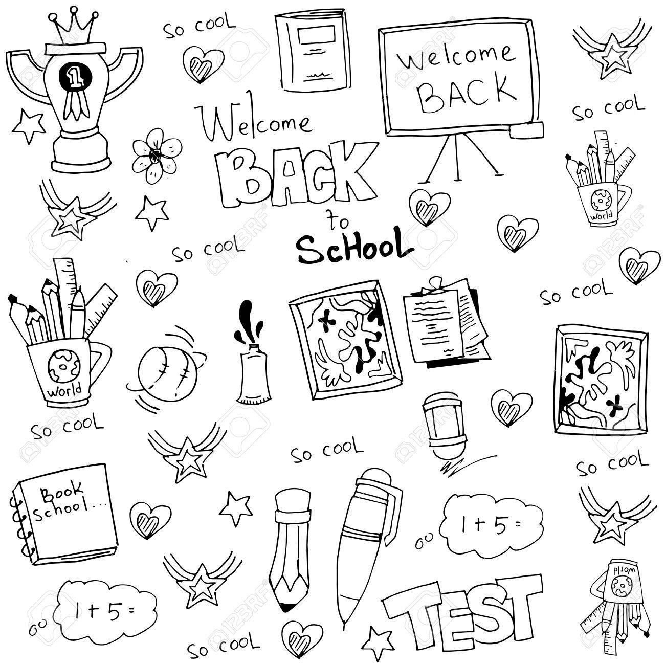 Hand draw doodles school tools vector art stock vector 60137068