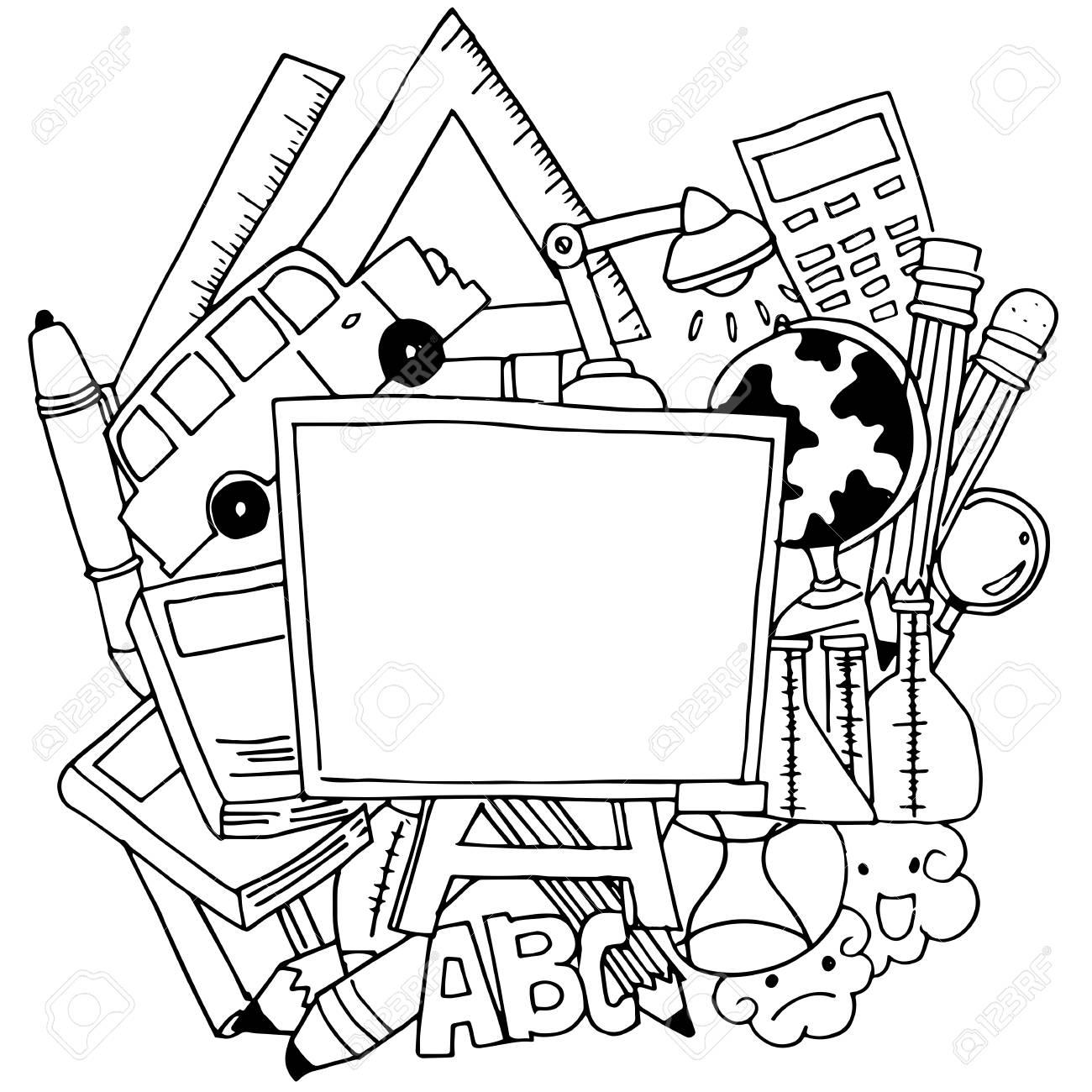 School tools doodle art vector with hand draw stock vector 60137647